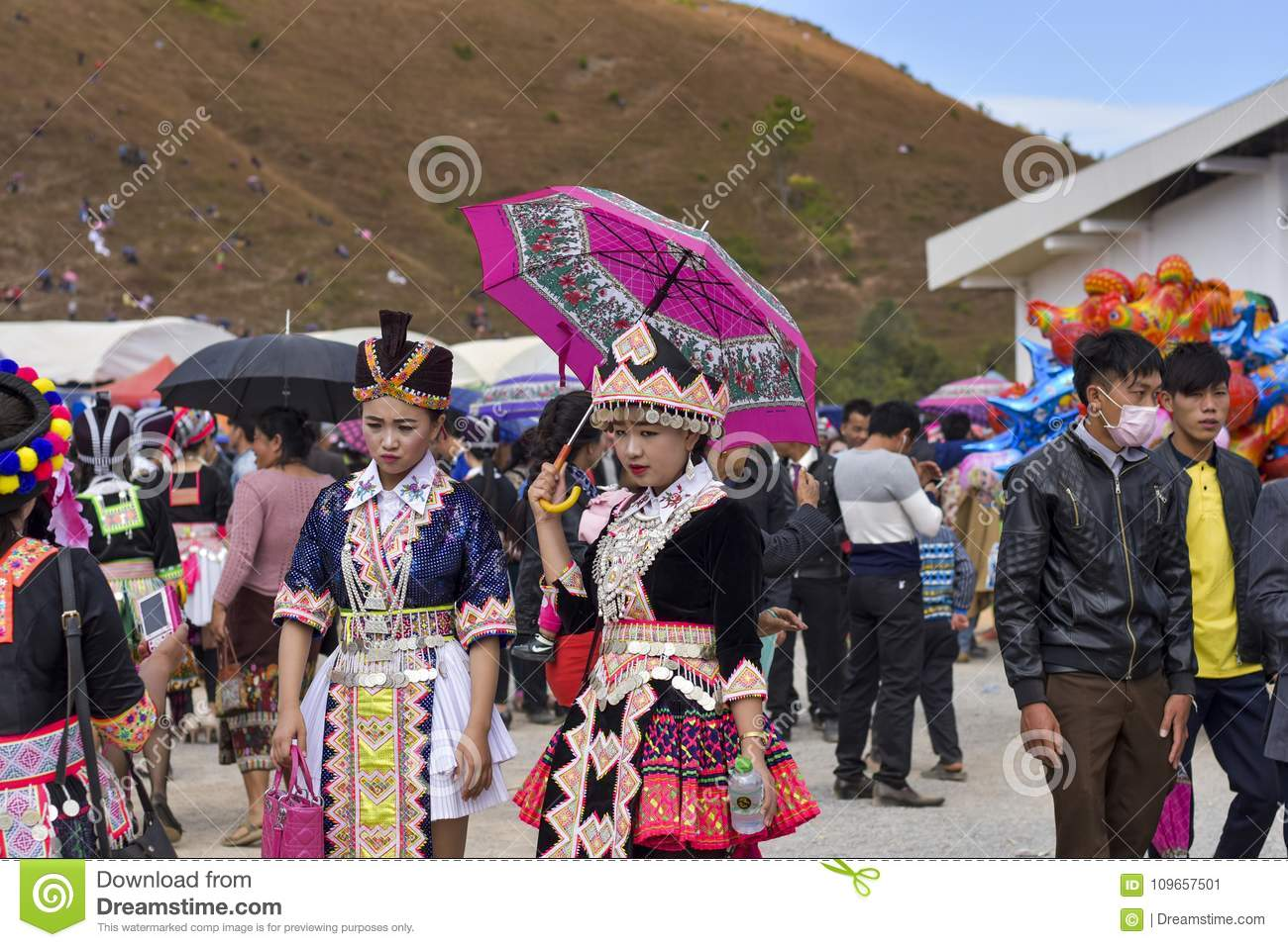 Hmong girl with new year editorial photo  Image of laos - 109657501