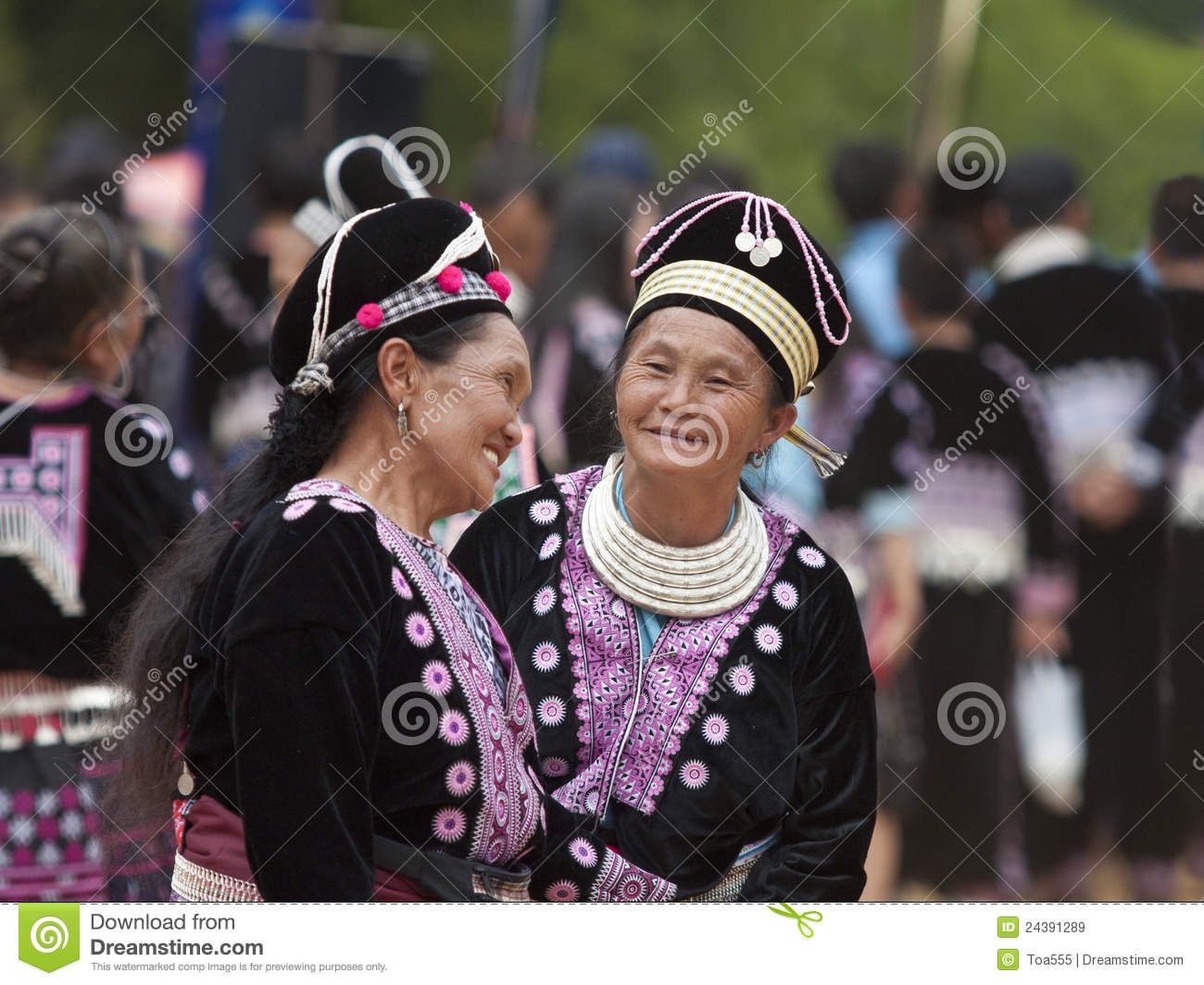 Hmong Hill Tribe women in traditional costumes