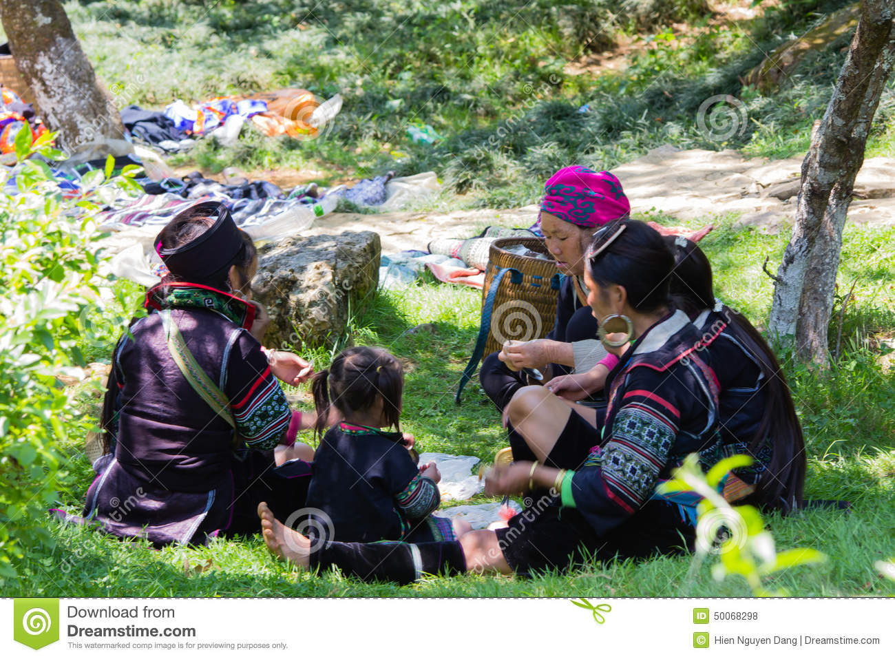 Hmong minority people in a family