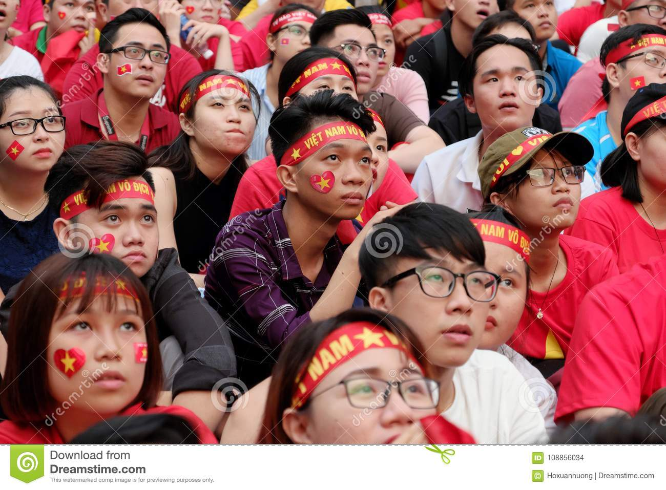Portrait Of Vietnamese Football Fans Editorial Stock Image