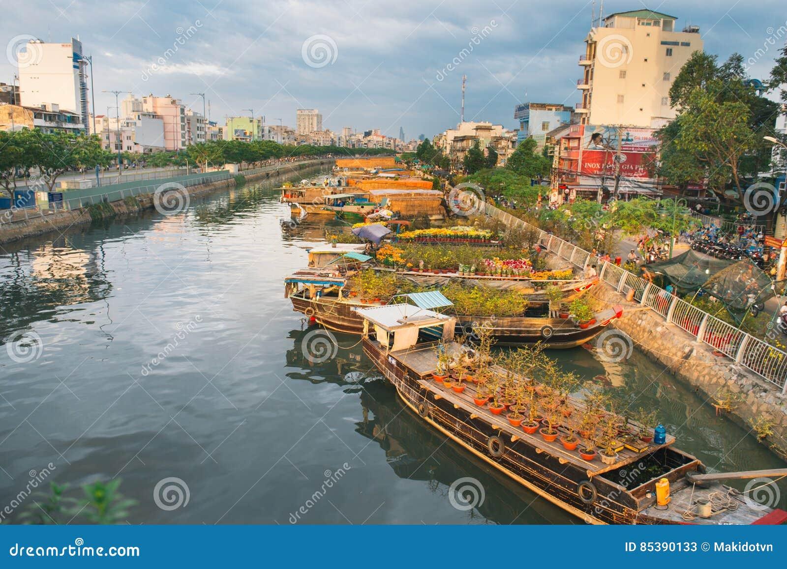 Binh Dong Floating Flower Market.Ho Chi Minh City Vietnam Jan 24 2017 Ben Binh Flower F