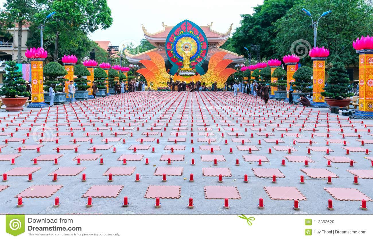 Buddhist Party Came Prepared With Hundreds Candles Lined