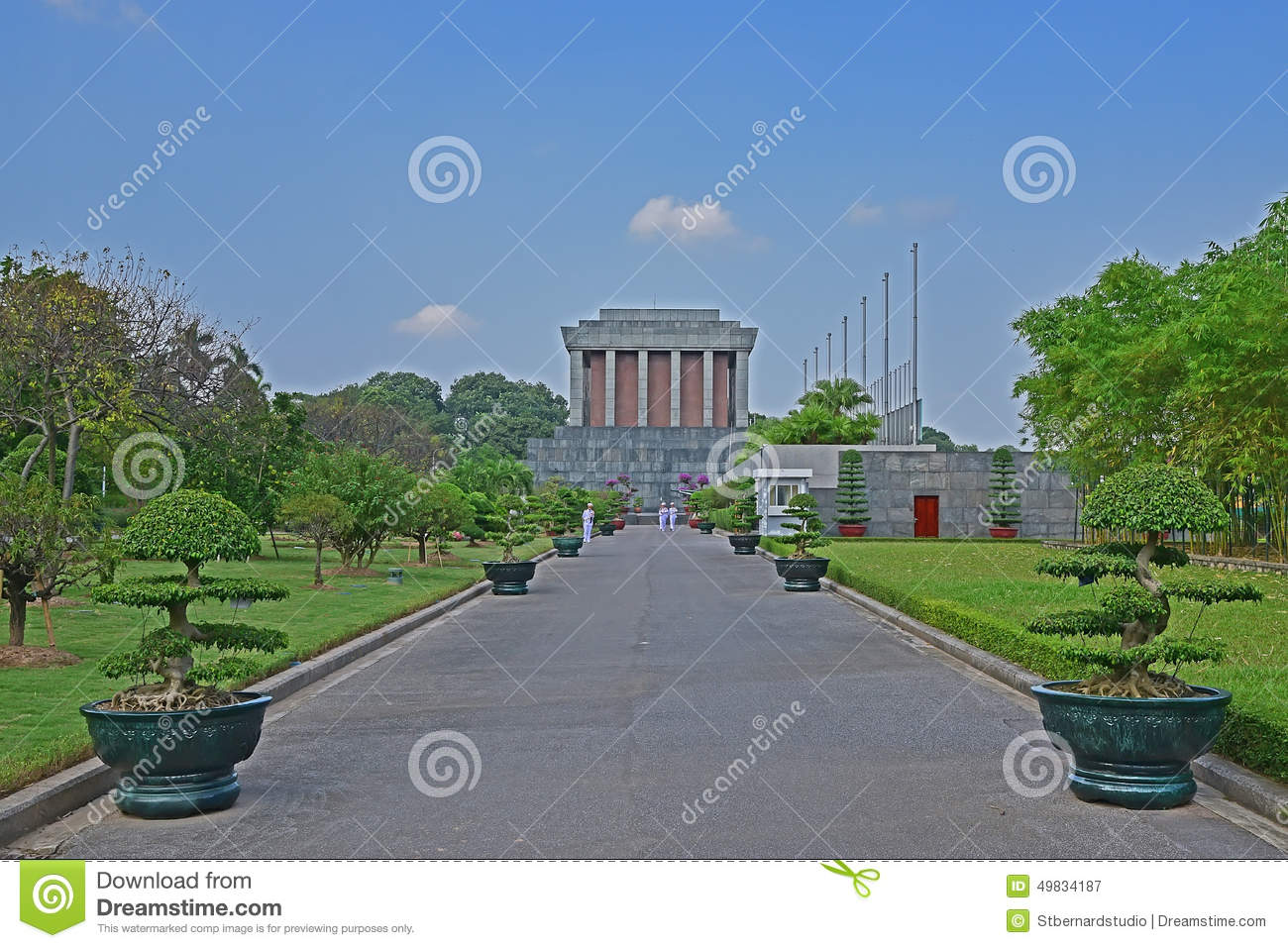Ho Chi Minh Mausoleum in Hanoi Vietnam with soldiers marching on the pathway