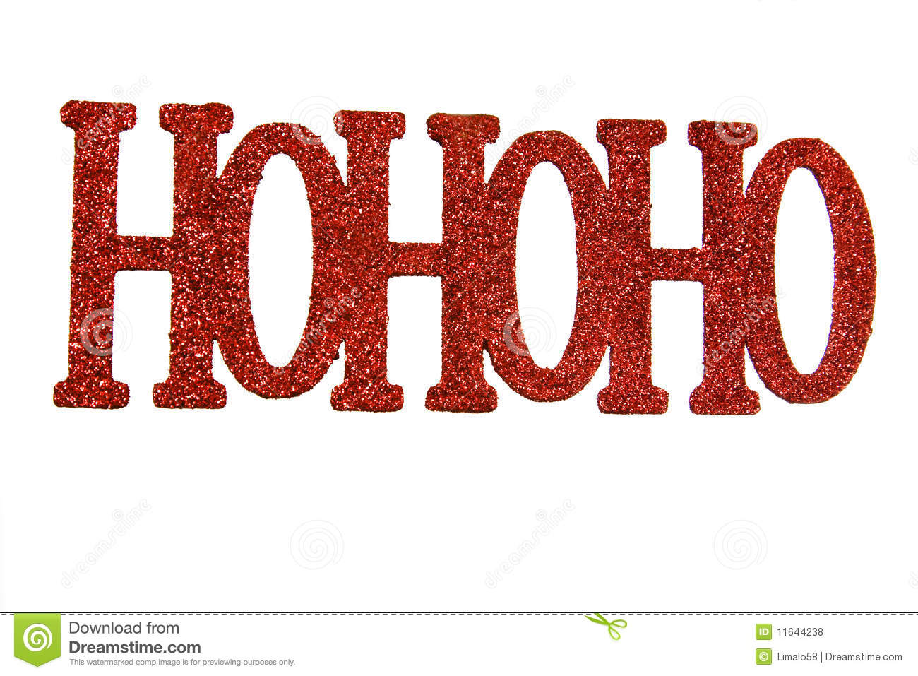 The word ho, ho, ho in red letters against a white background.