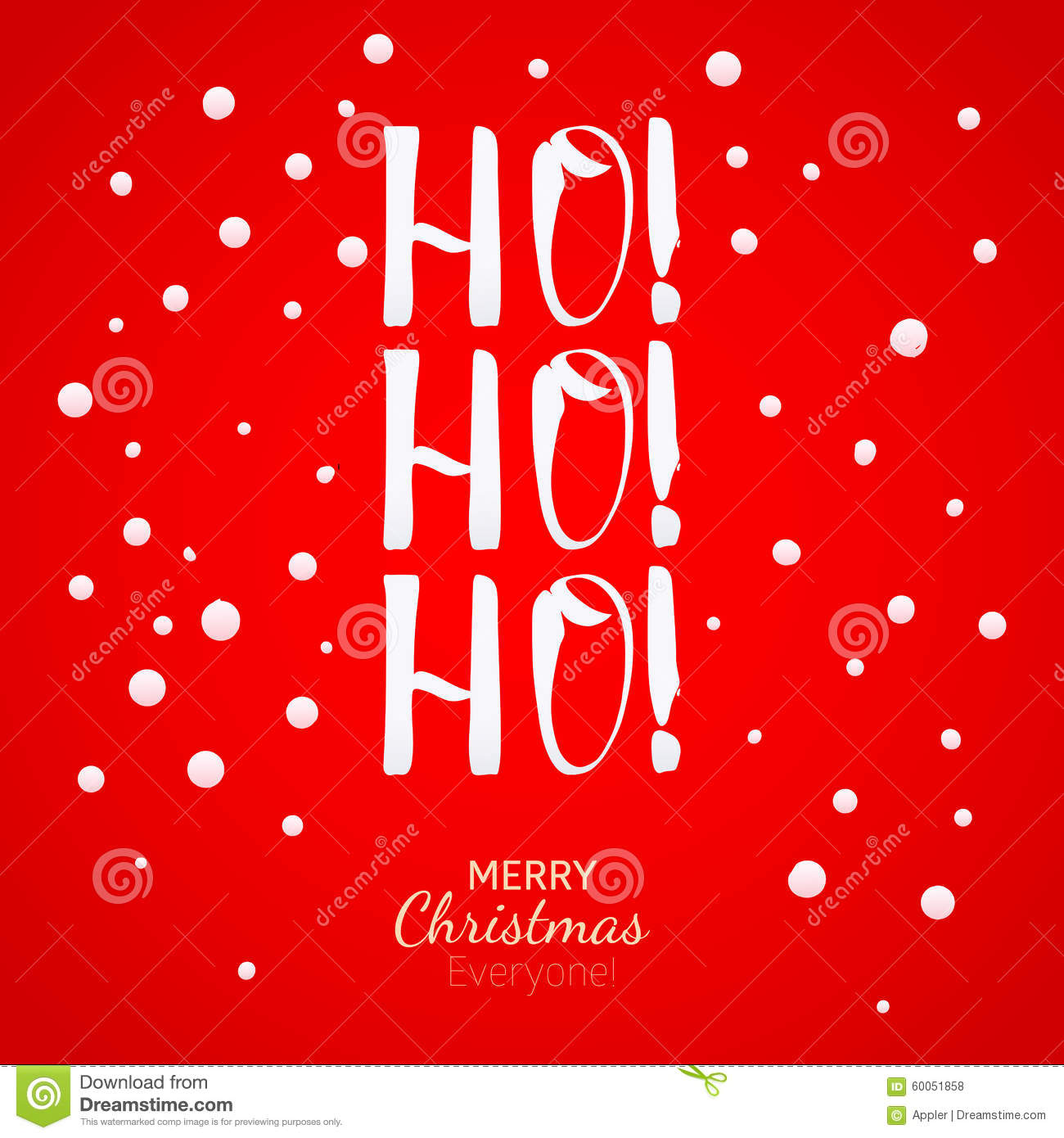 Ho-Ho-Ho Christmas Greeting Card With Lettering And Snow Stock ...