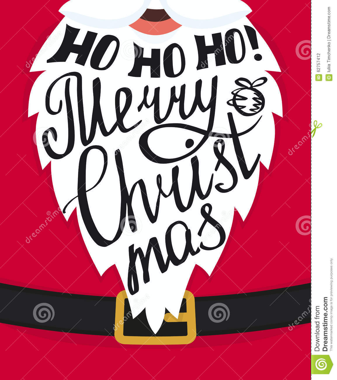 lettering on the Santa Claus white beard. Xmas greeting card template ...