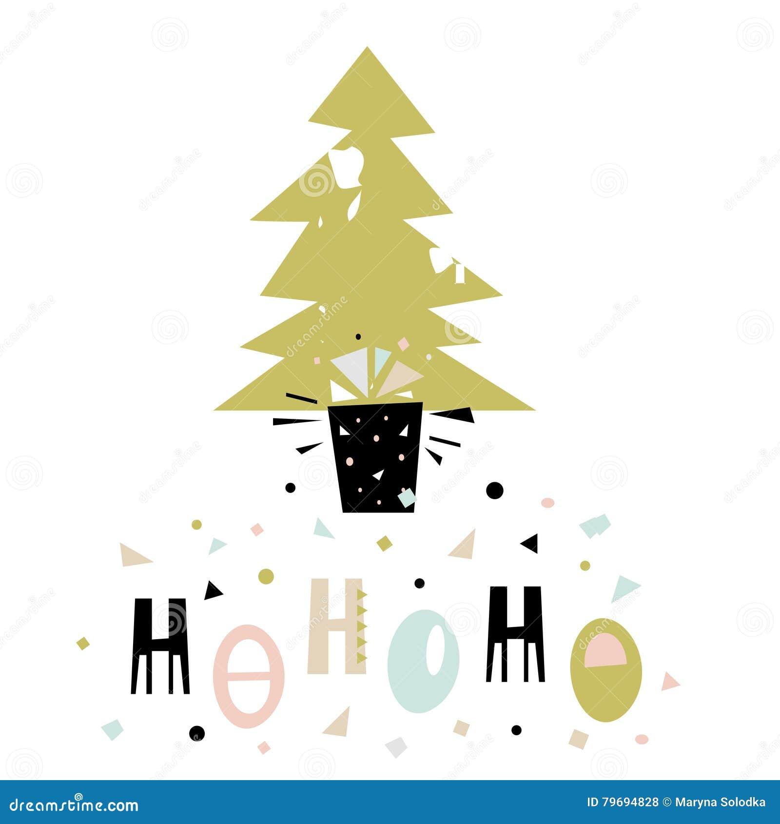 Hohoho winter saying christmas greeting background holiday hohoho winter saying christmas greeting background holiday winter template with christmas tree and gift vector illustration m4hsunfo