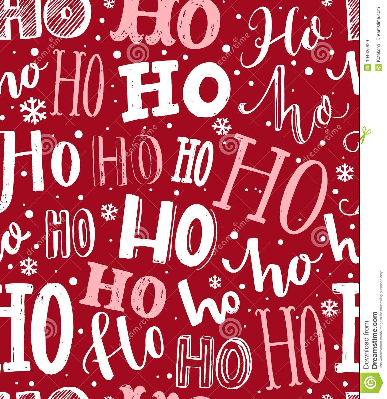 Ho Ho Ho Pattern. Funny Christmas Background For Gift Wrapping ...
