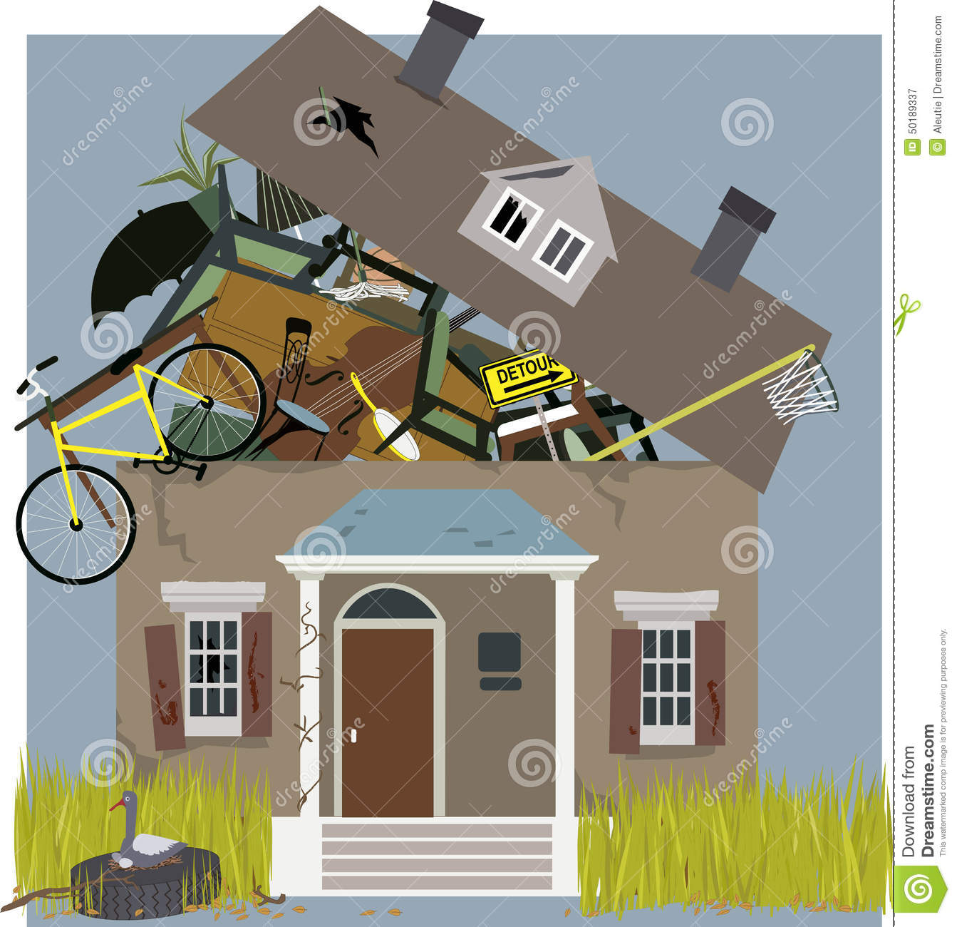 Messy Room Garbage: Hoarder House Stock Vector