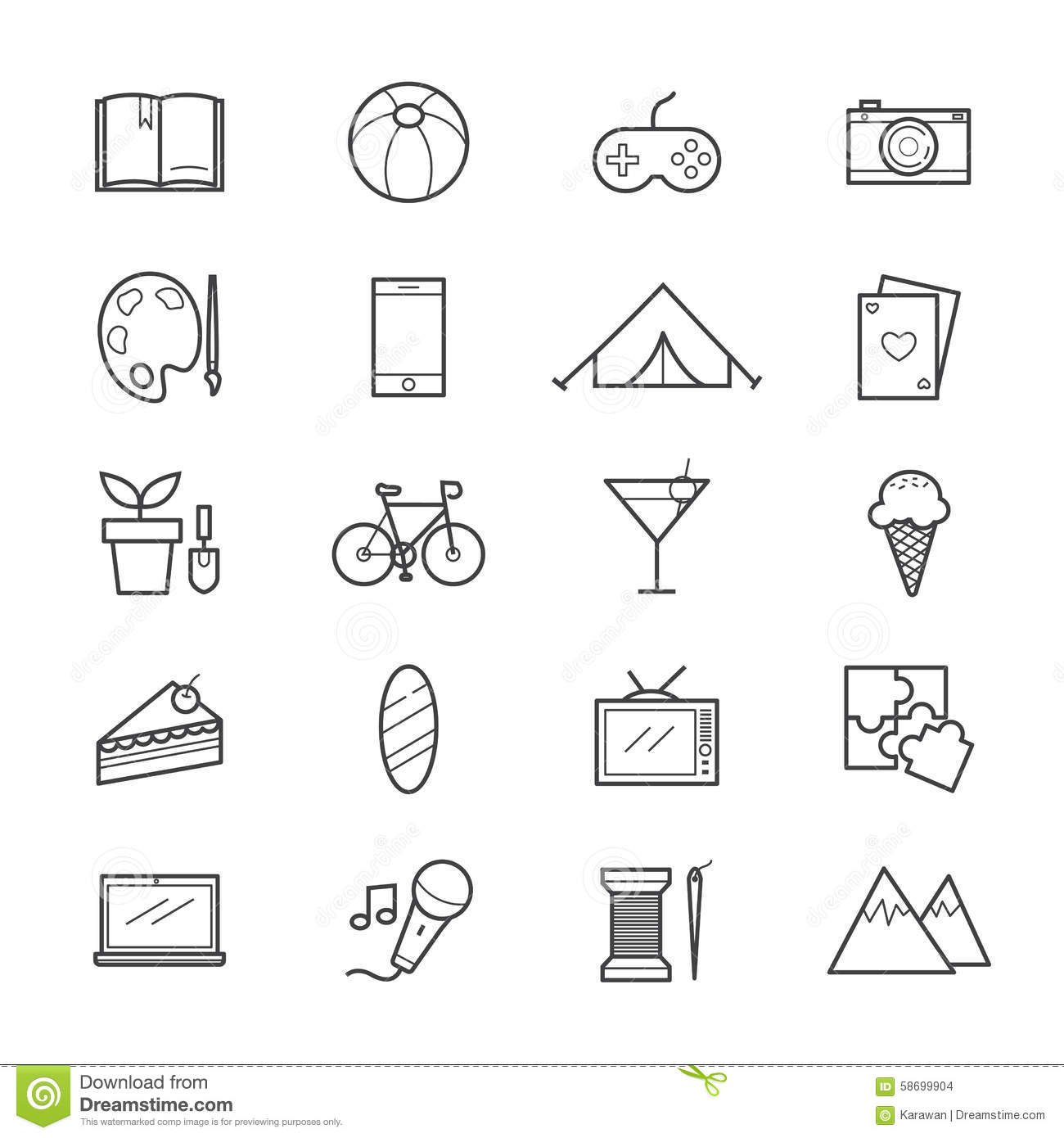 Line Art Icons : Hobbies and activities icons line stock vector image
