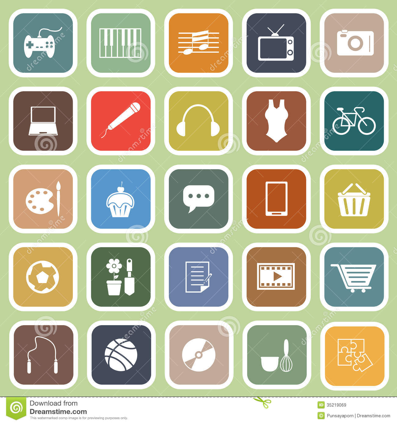 Hobby Flat Icons On Green Background Stock Vector - Image ...