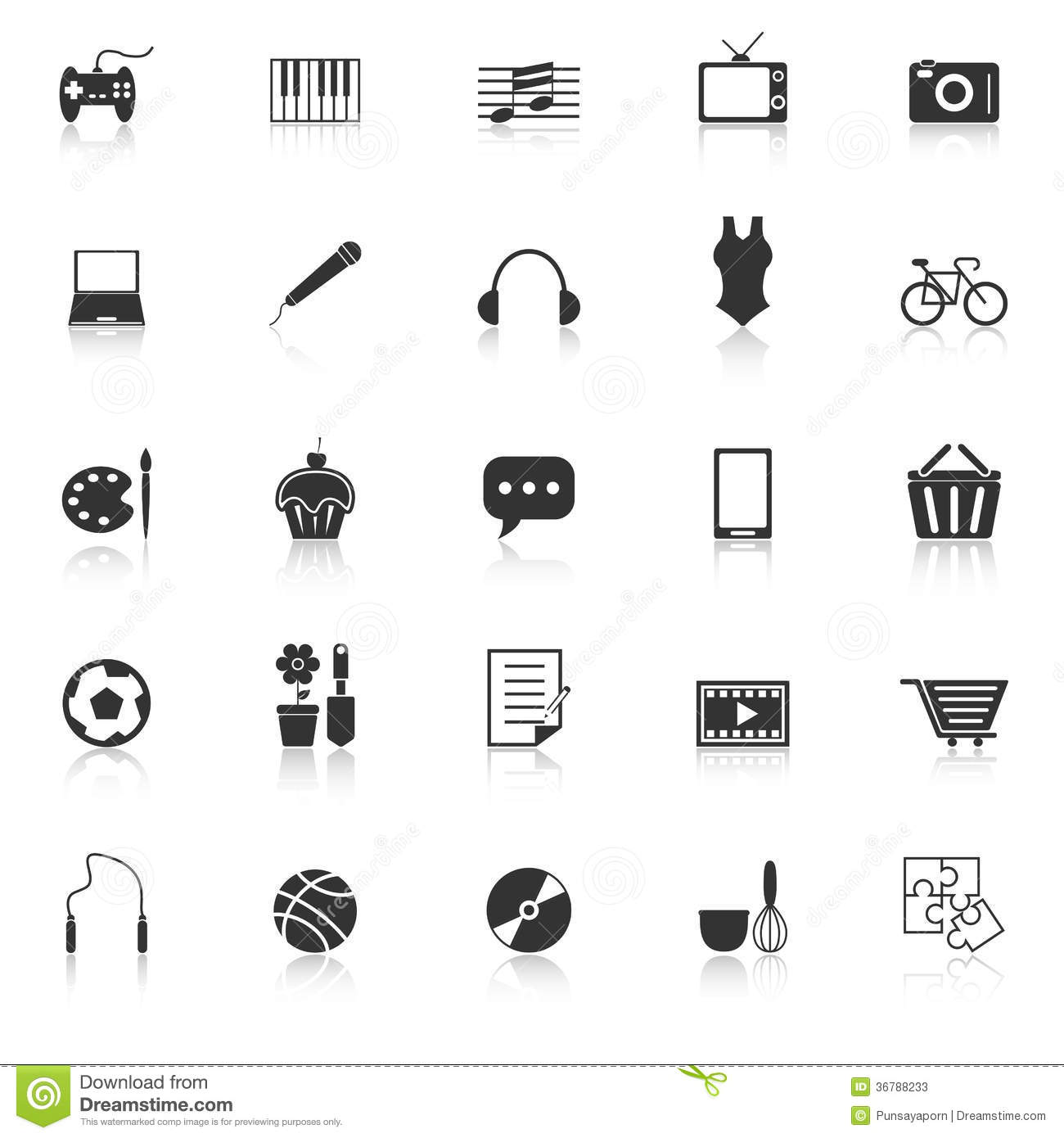 hobby icons with reflect on white background stock vector