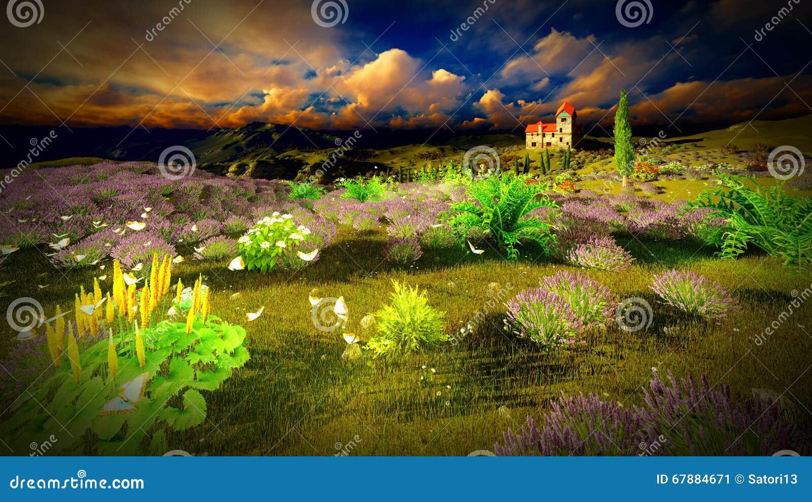 Hochragende Felder des Lavendels 9ver des Schlosses