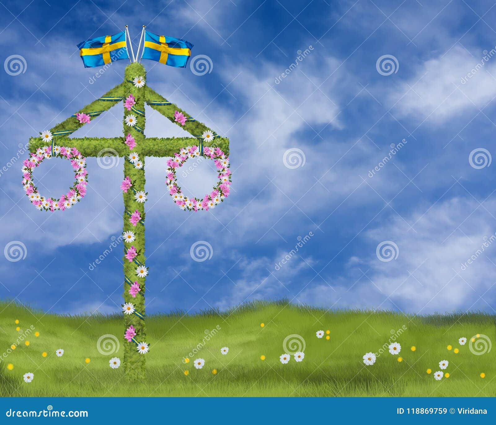 Hochsommer mit einem Maibaum mit Kränzen von Gänseblümchen und von traditioneller Hochsommerfeier der Malve in Schweden