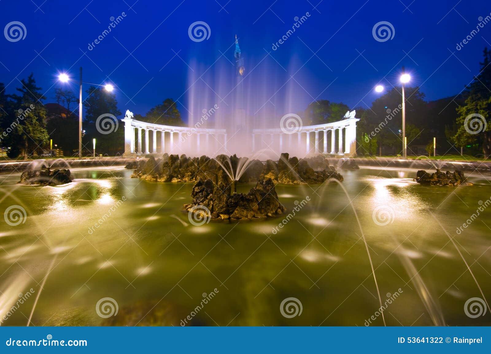 Hochstralbrunnen喷气机喷泉在维也纳,奥地利