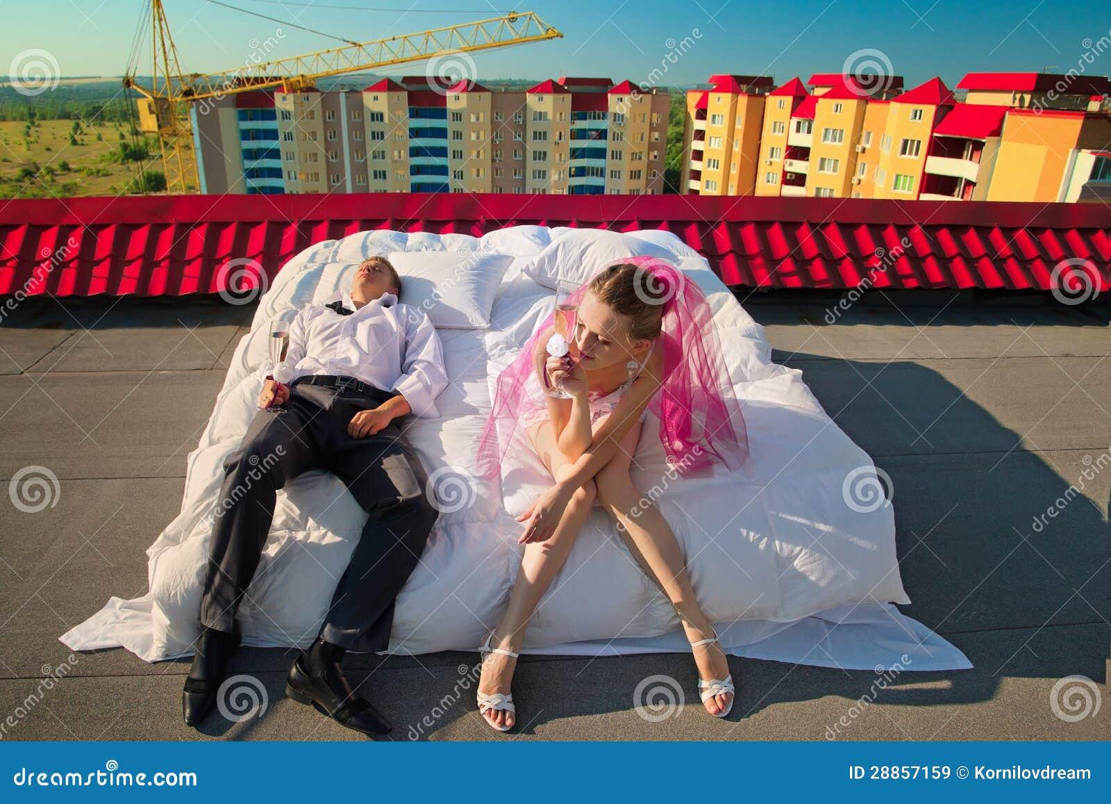 Hochzeit geschossen auf Dach