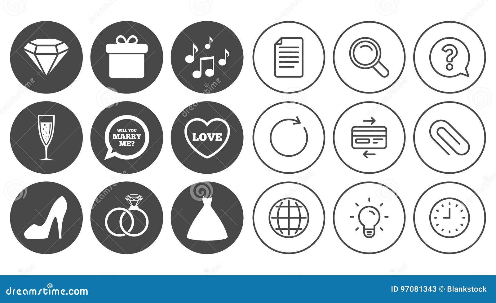 Hochzeit Verpflichtungsikonen Ringe Geschenkbox Vektor Abbildung