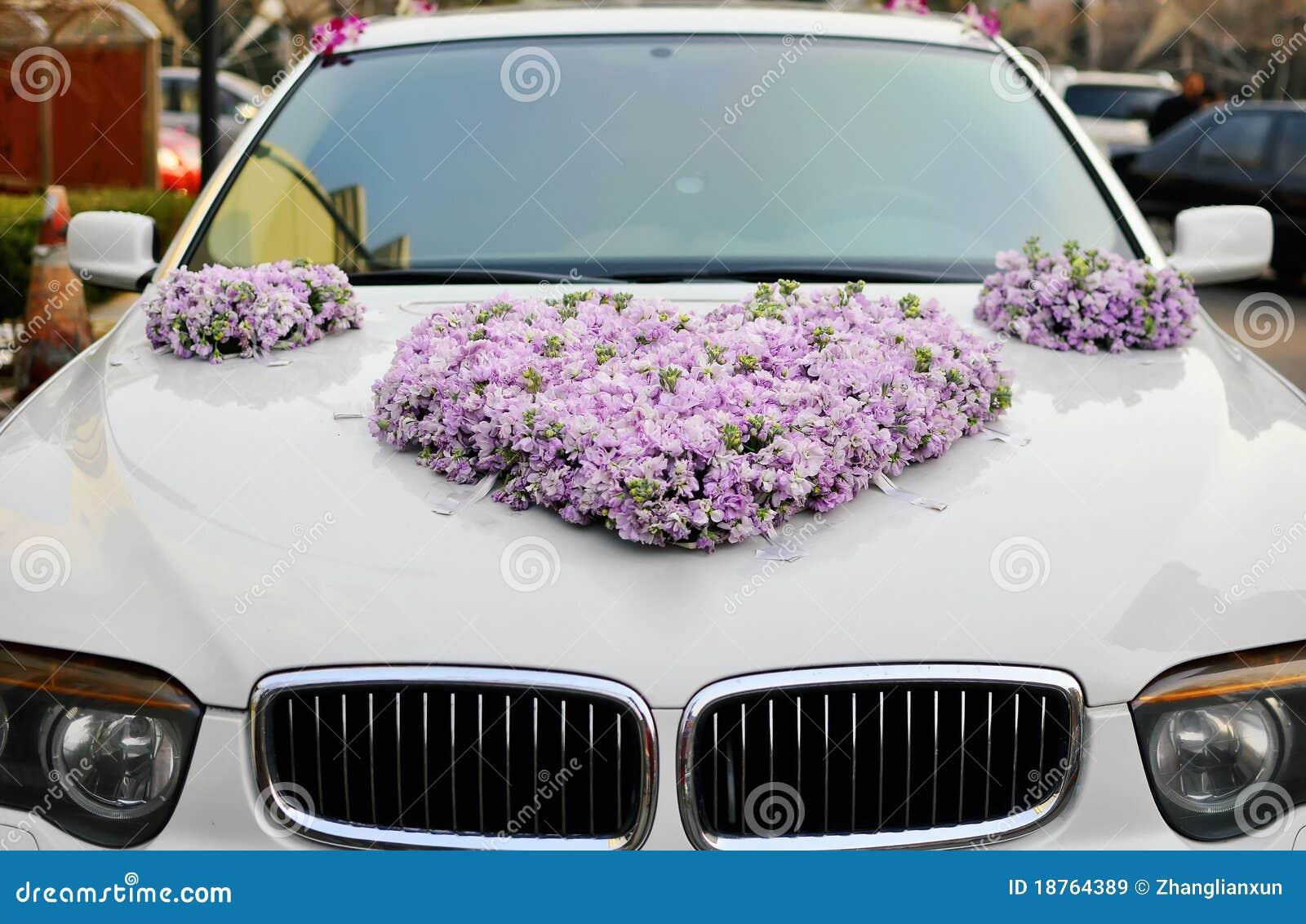 Hochzeits Auto Blumen Stockbild Bild Von Dekorationen 18764389