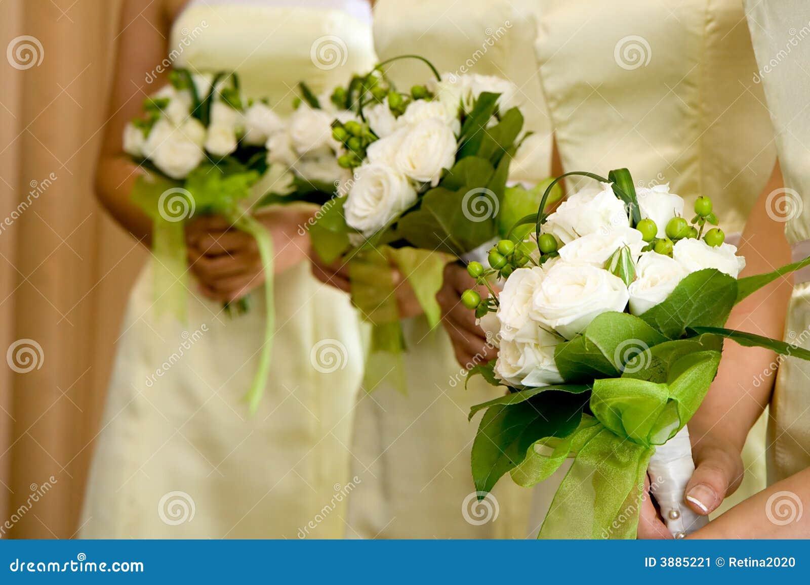 Hochzeits Brautjunfer Blumenstrausse Stockbild Bild Von Hochzeit