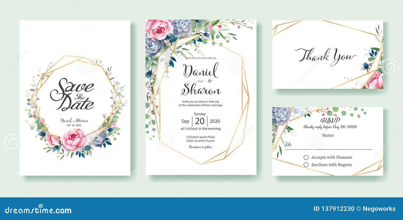Hochzeits-Einladung, sparen das Datum, danke, rsvp Karte Designschablone Königin von Schweden stieg Blume, Blätter, die saftige A