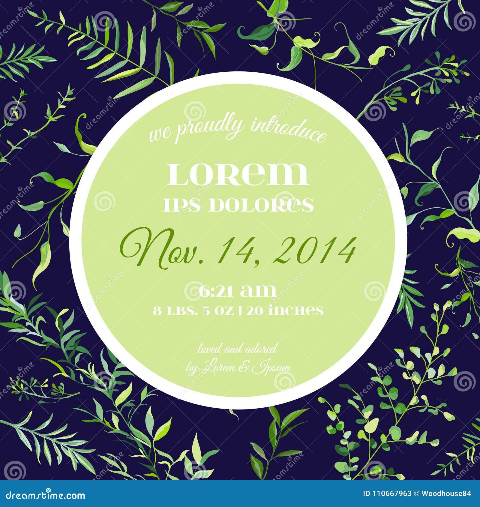 Hochzeits-Einladungs-oder Glückwunsch-Blumenkarten-Schablone Mit ...