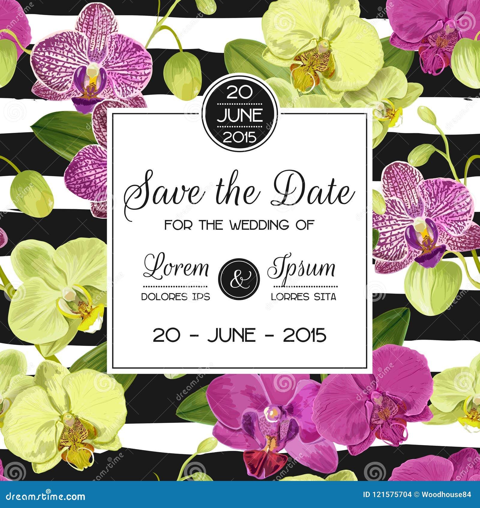 Hochzeits-Einladungs-Plan-Schablone mit Orchideen-Blumen Speichern Sie die Datums-Blumenkarte mit exotischen Blumen für Partei
