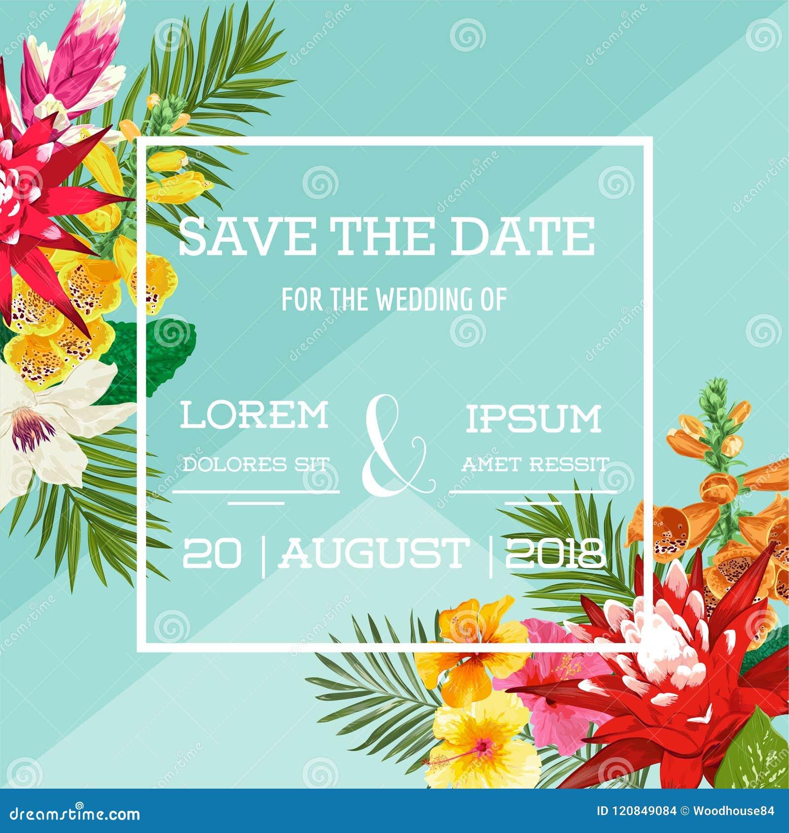 Hochzeits-Einladungs-Schablone Mit Blumen Und Palmblättern Tropische ...