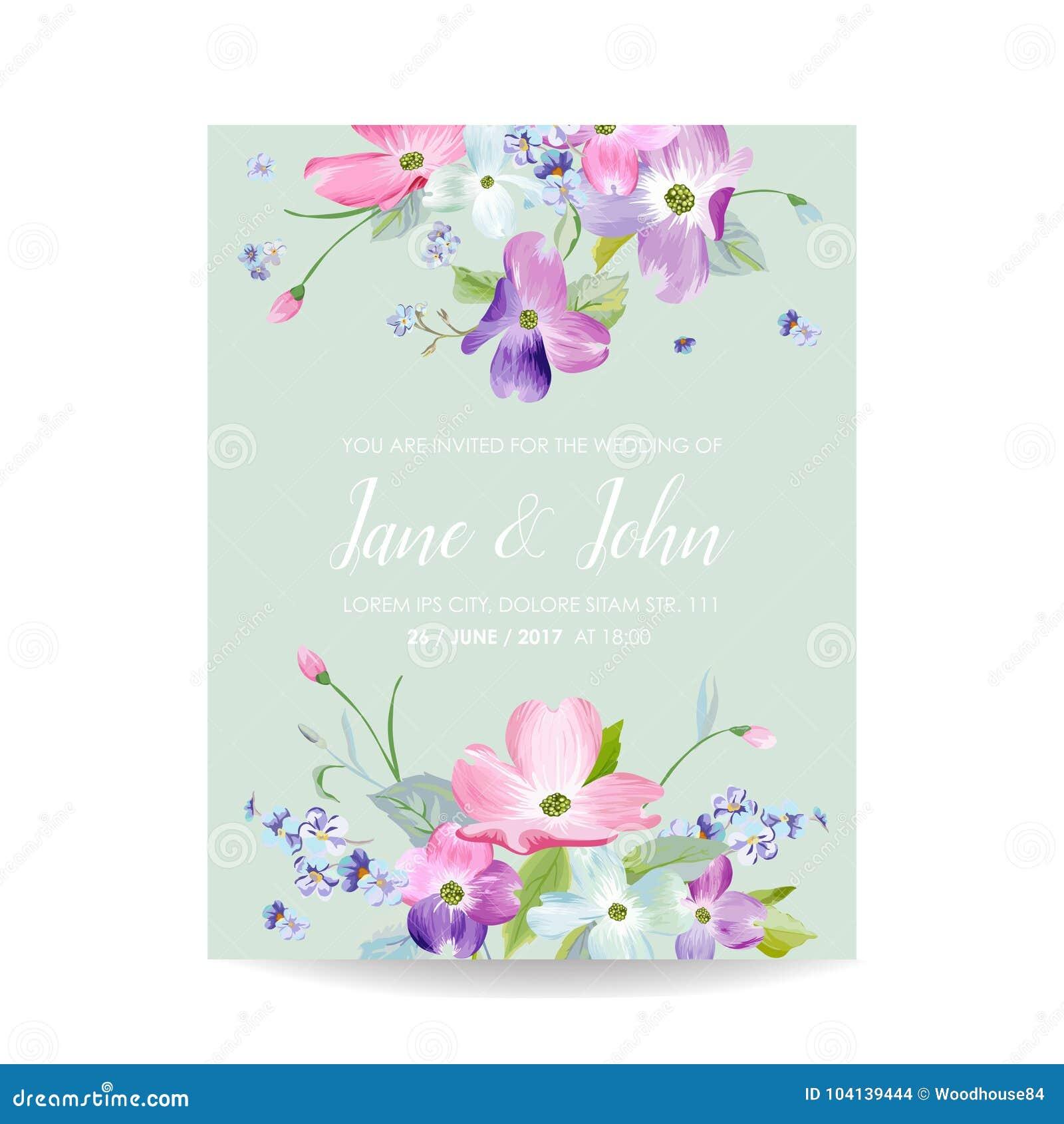 Hochzeits-Einladungs-Schablone Mit Frühlings-Hartriegel-Blumen ...