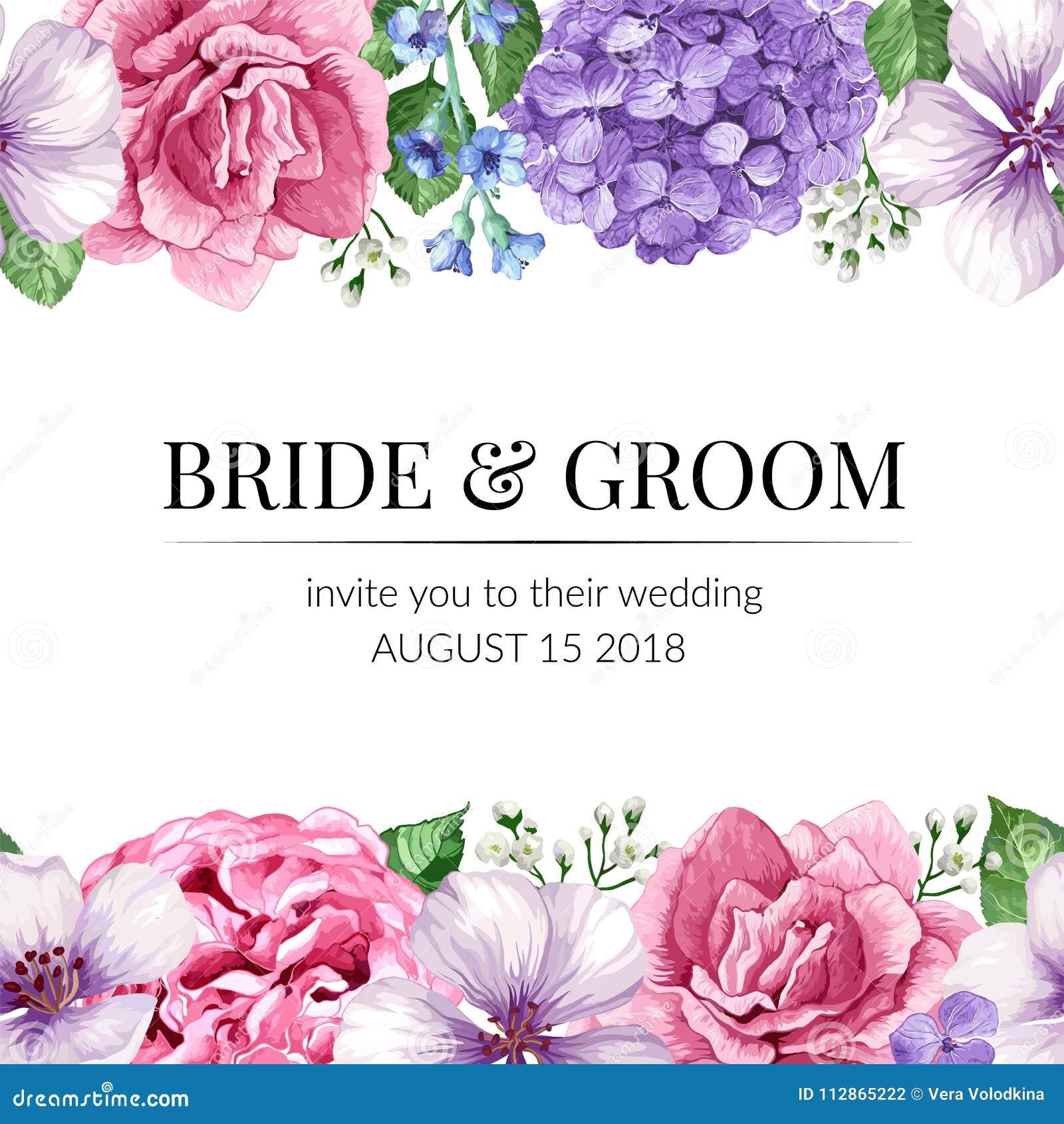 Hochzeits-Einladungskarte Mit Nahtloser Blumengrenze In Der ...