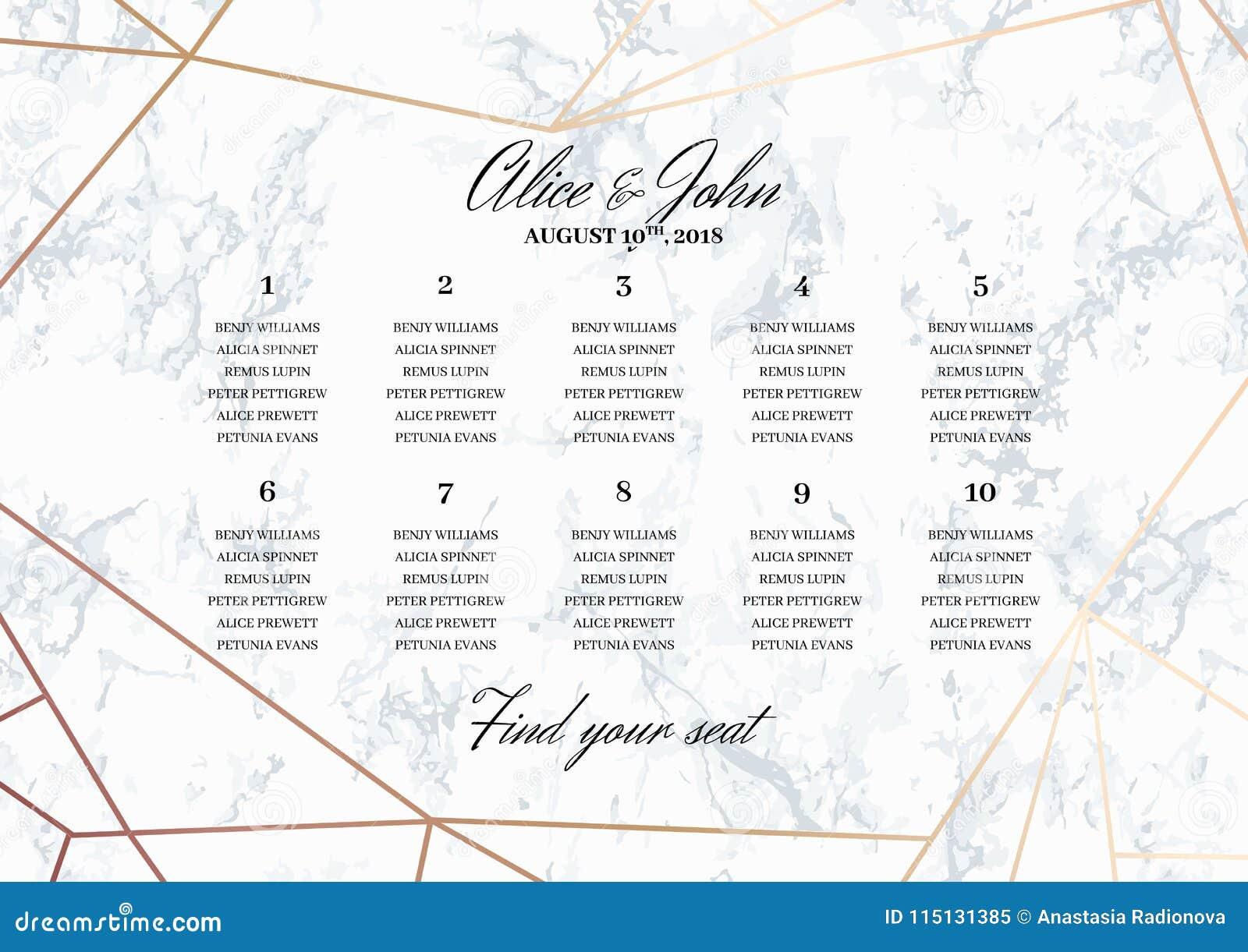 Hochzeits-Sitzplatz-Diagramm-Plakat-Schablone Vektor Abbildung ...