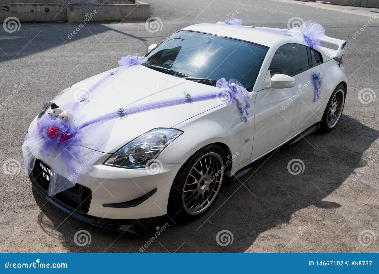 Hochzeitsauto stockfoto. Bild von fahrt, weiß, floral ...
