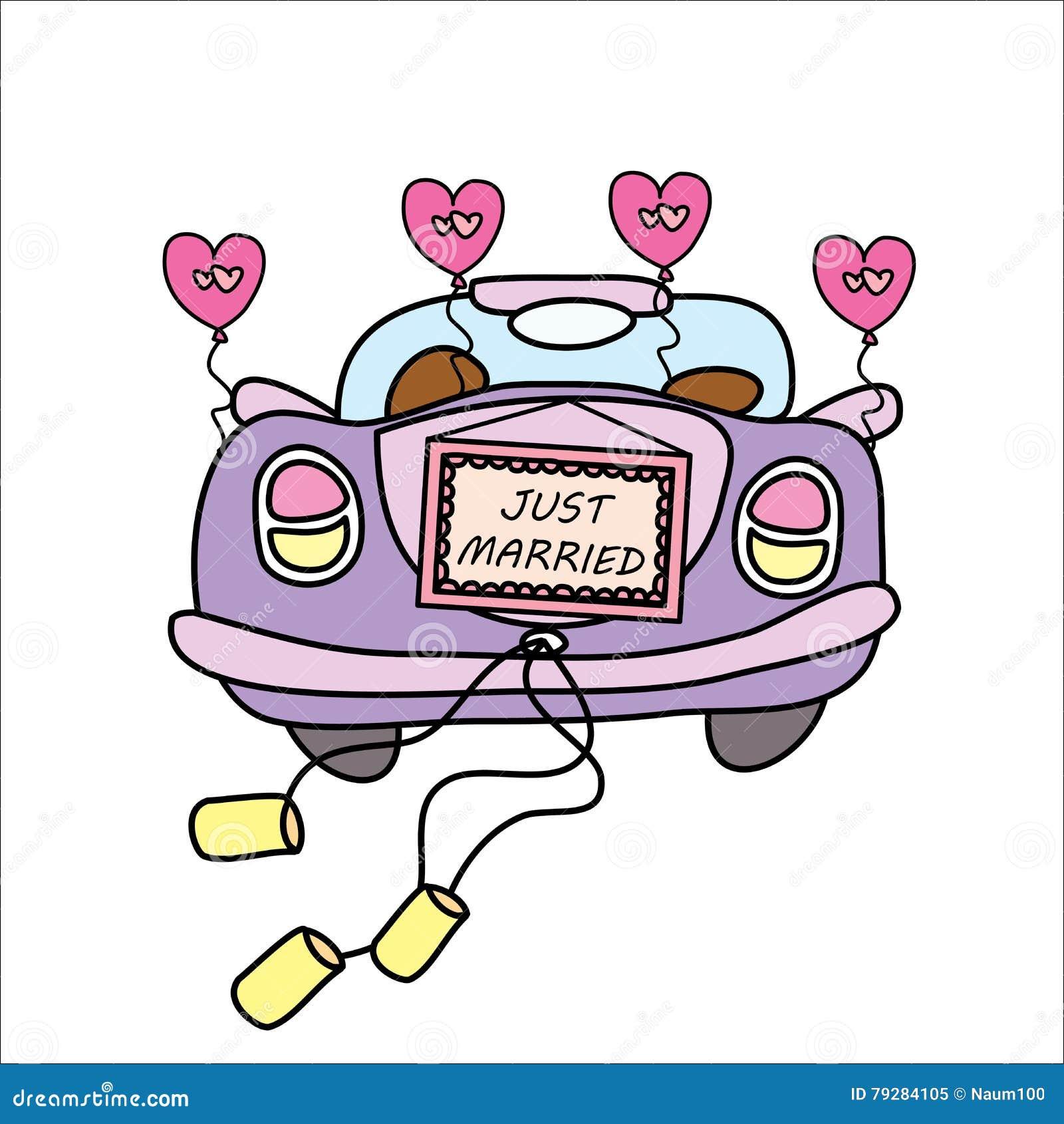 hochzeitsauto gerade geheiratet vektor abbildung