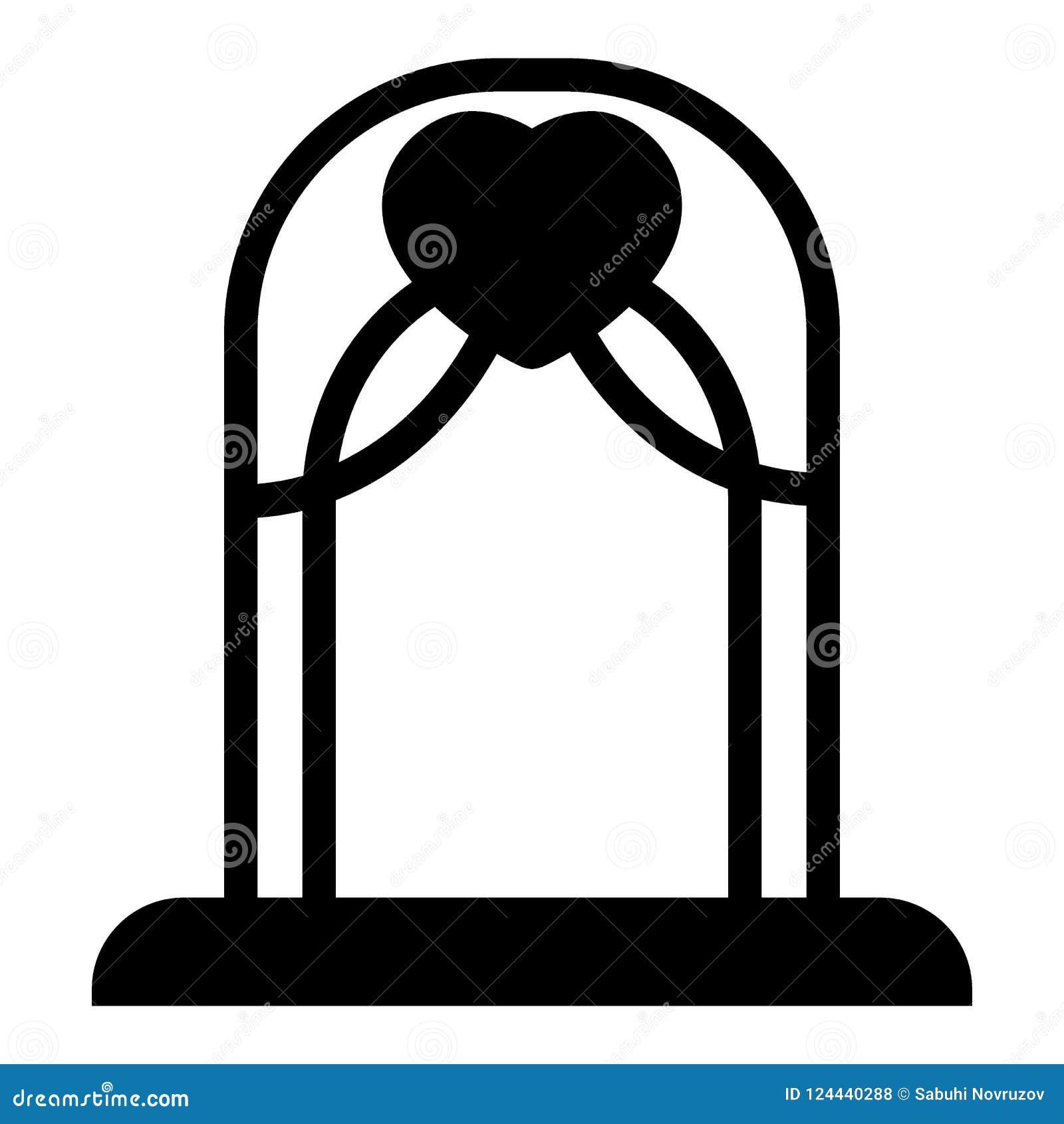 Hochzeitsbogen-Körperikone Altarvektorillustration lokalisiert auf Weiß Bogen Glyph-Artdesign, bestimmt für Netz und APP