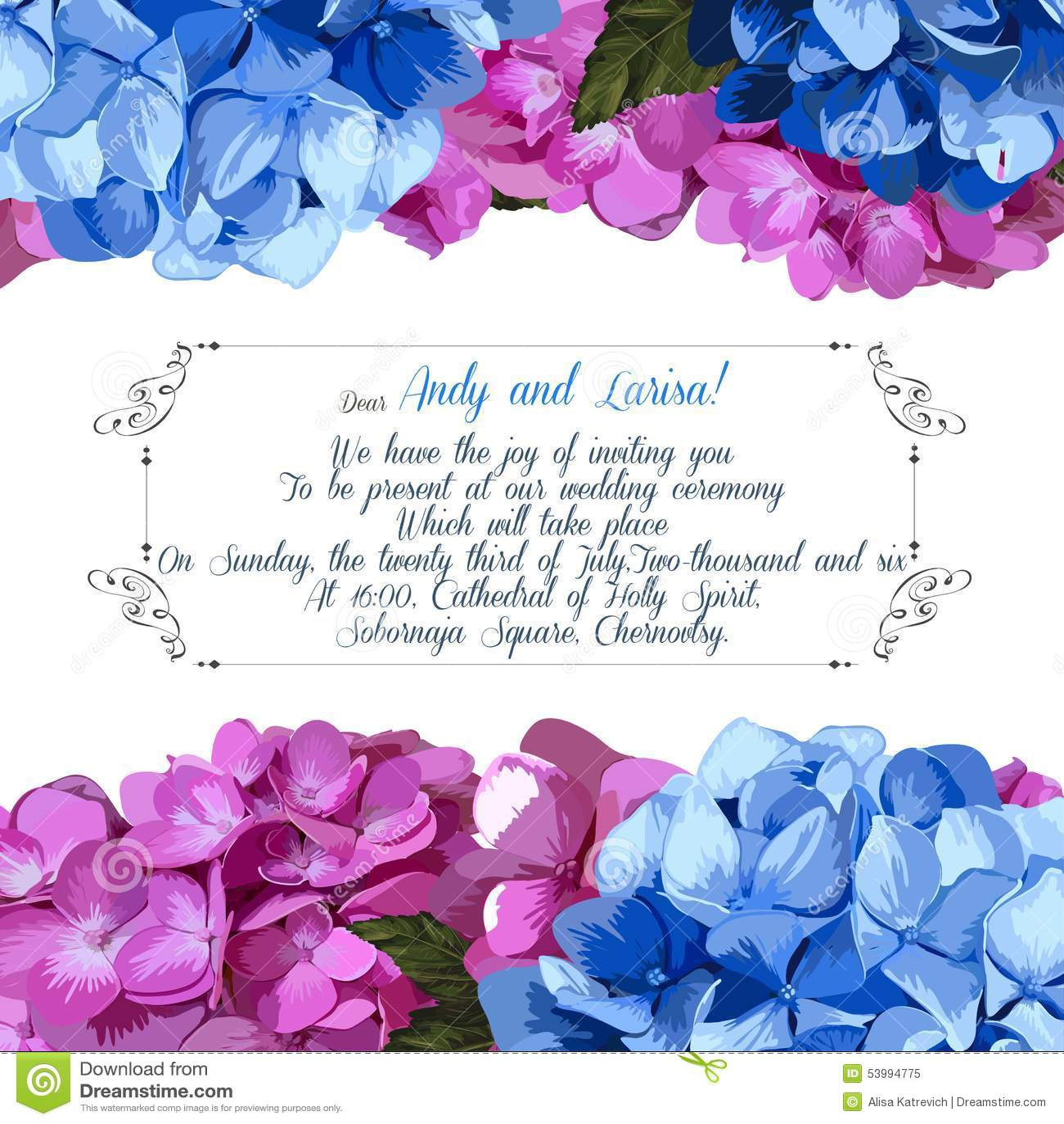 Hochzeitseinladung Mit Hortensie Für Ihr Design Vektor ...