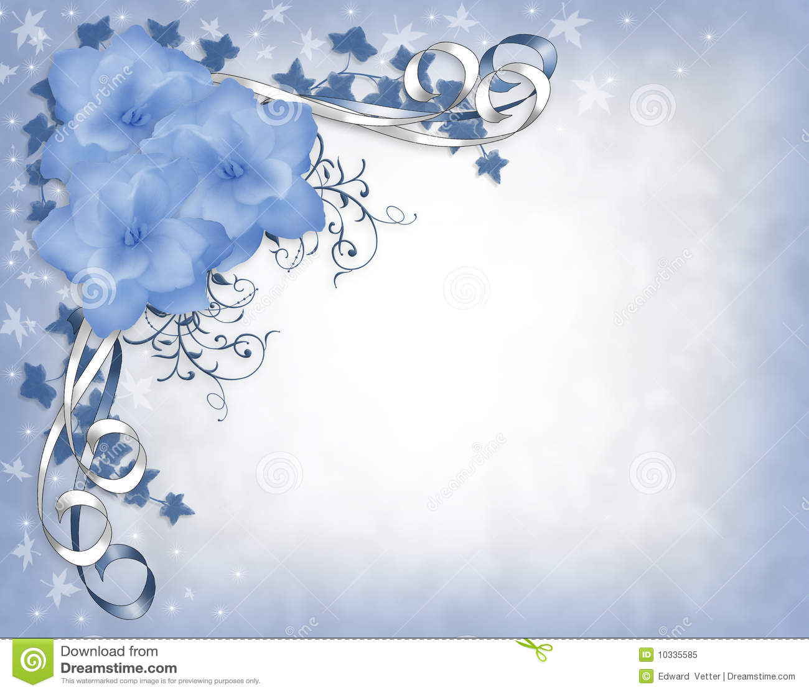 Hochzeitseinladungs-Rand blaue Gardenias mit Blumen