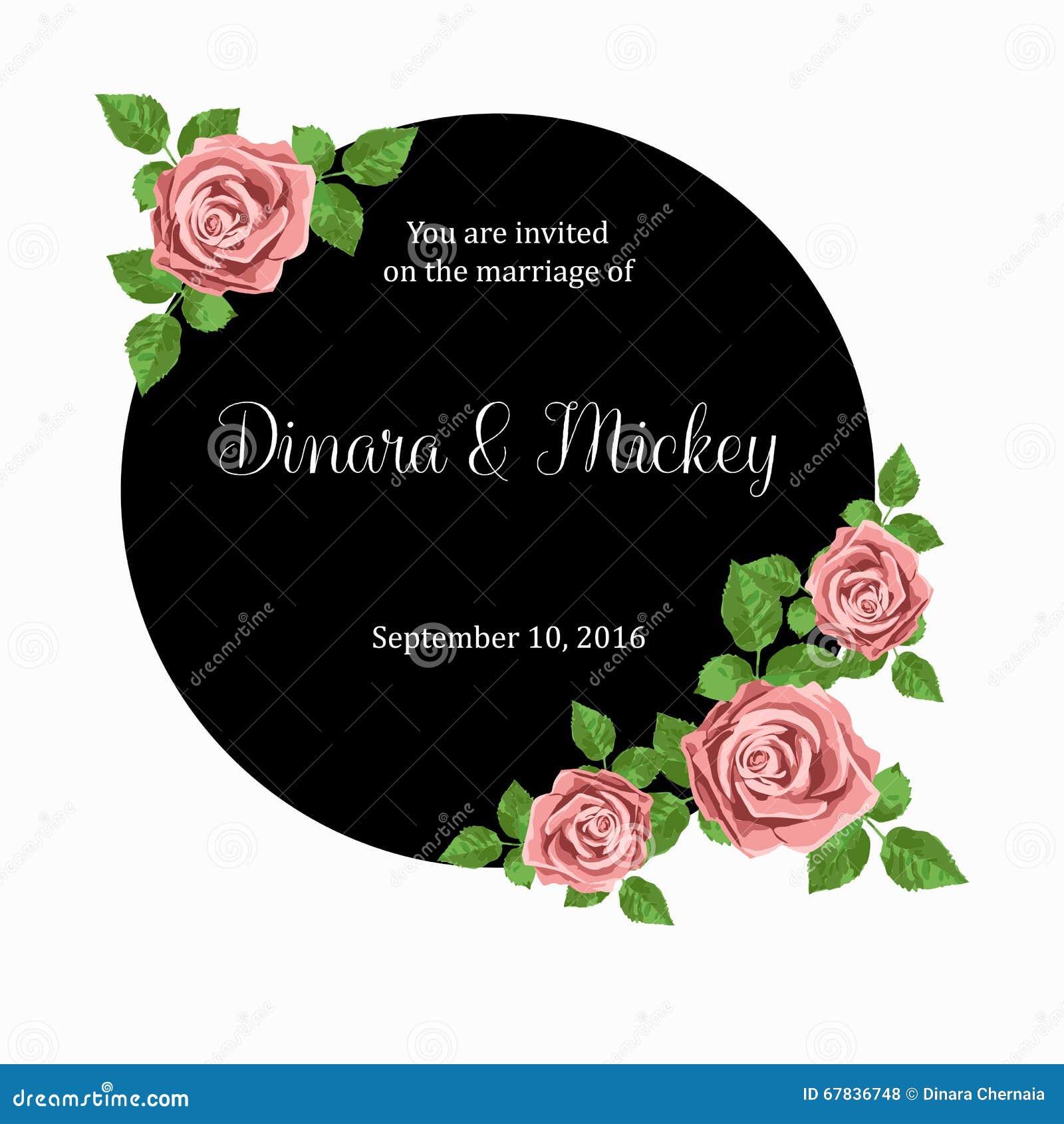 Hochzeitseinladungskarte Mit Rosa Realistischen Rosen Kann Als  Einladungskarte Für Die Heirat Benutzt Werden Vektor Abbildung