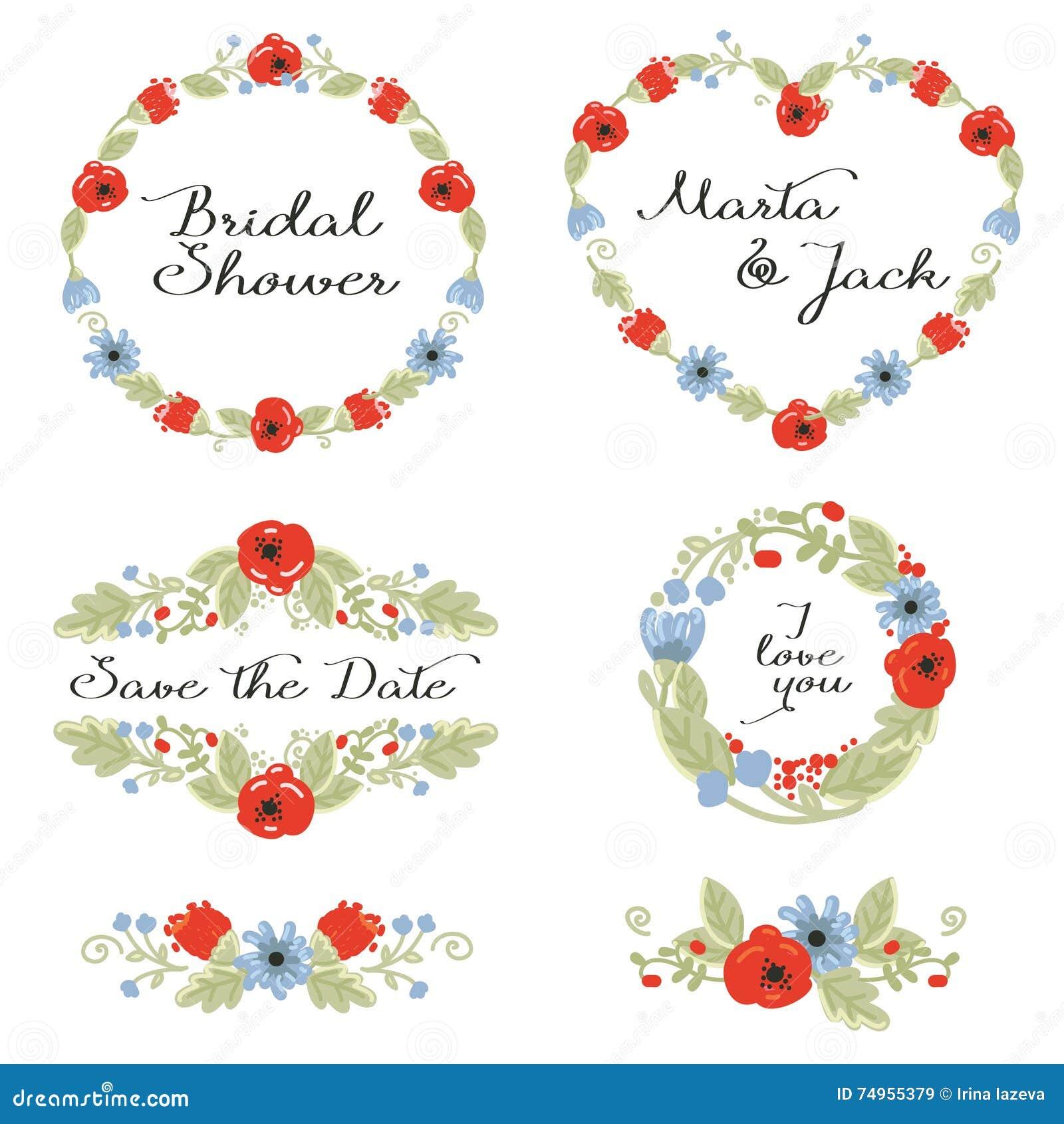 Hochzeitsgraphik Eingestellt: Rahmen, Kranz Und Blumen Vektor ...
