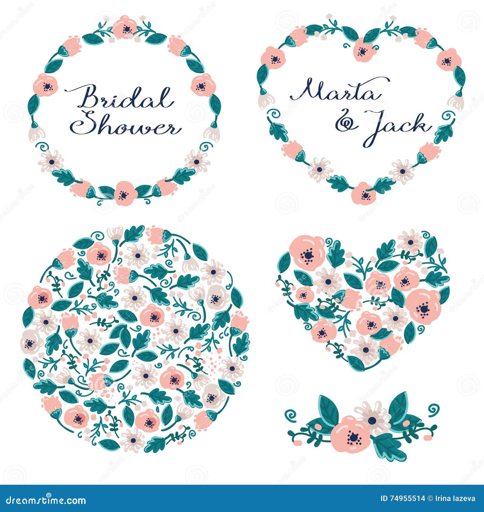 Hochzeitsgraphik Eingestellt: Rahmen, Kranz Und Blumen Stockfoto ...