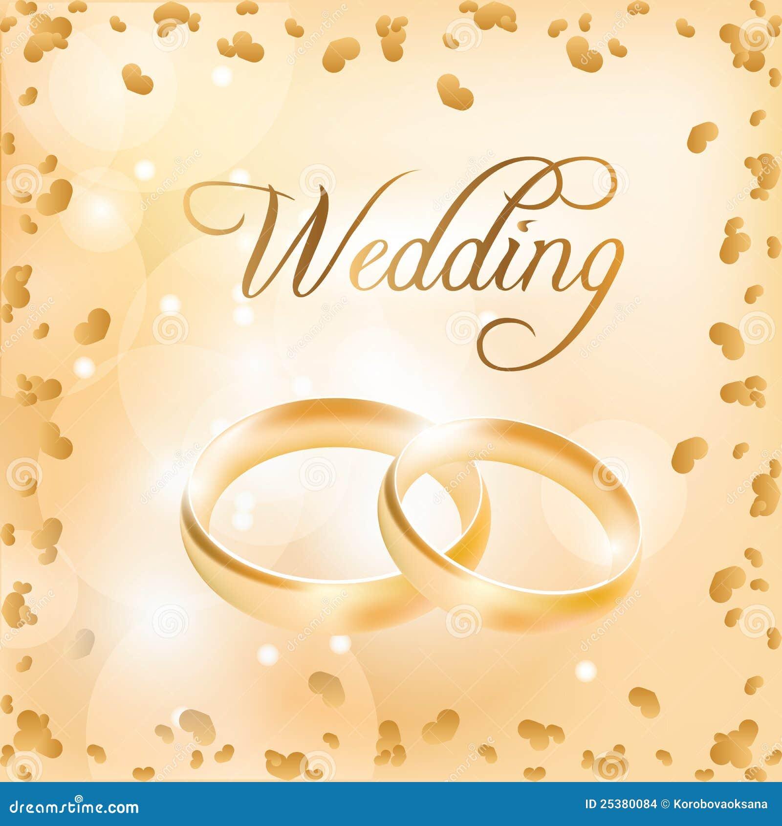 Hochzeitskarte Mit Hochzeitsringen Vektor Abbildung Illustration