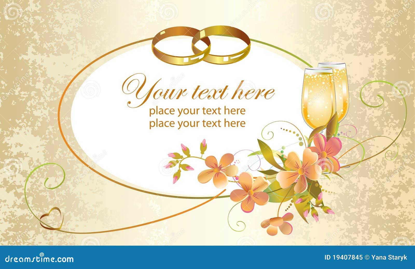 Hochzeitskarte Mit Ringen Vektor Abbildung Illustration Von Elegant