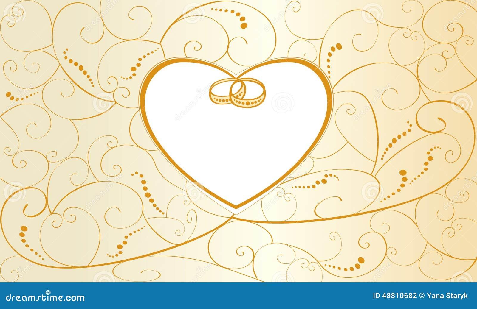 Hochzeitskarte Mit Ringen Und Herzen Vektor Abbildung Illustration