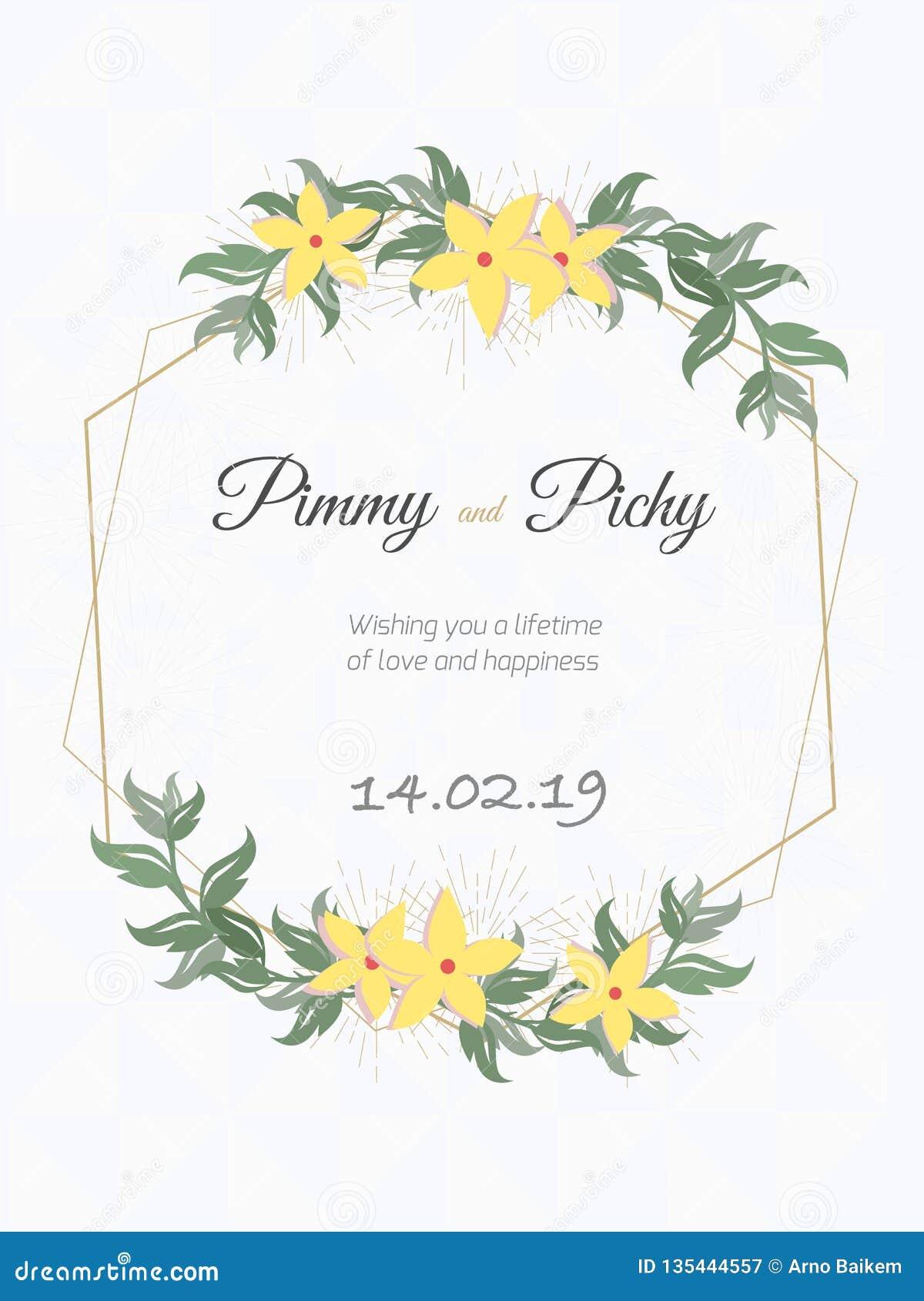 Hochzeitskarte oder Blumenheiratseinladung