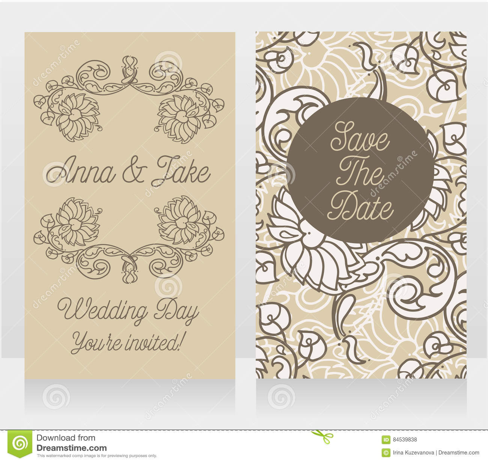 Hochzeitskarten Mit Schoner Barocker Verzierung Vektor Abbildung