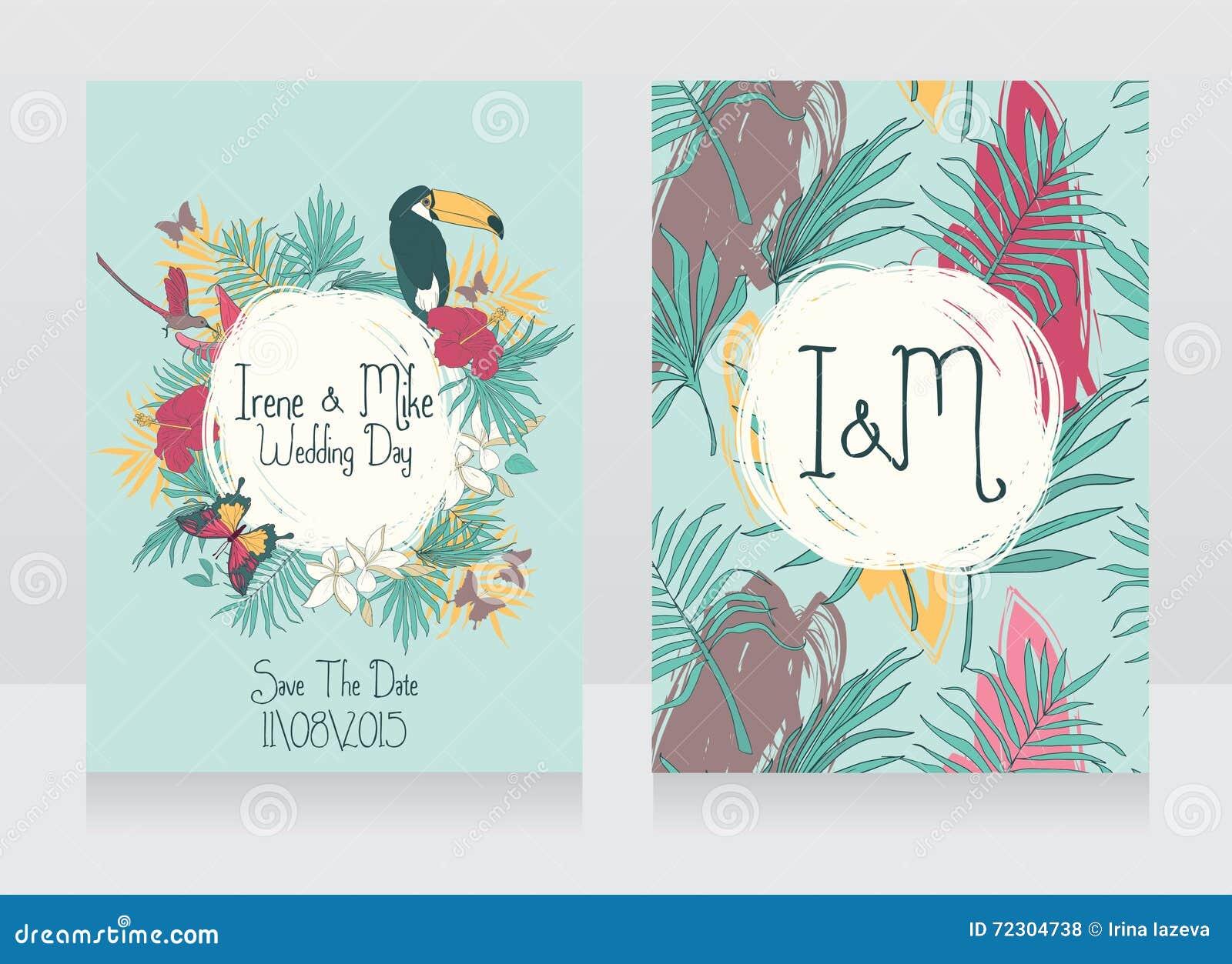 Hochzeitskarten Mit Tropischen Vogeln Und Blumen Vektor Abbildung