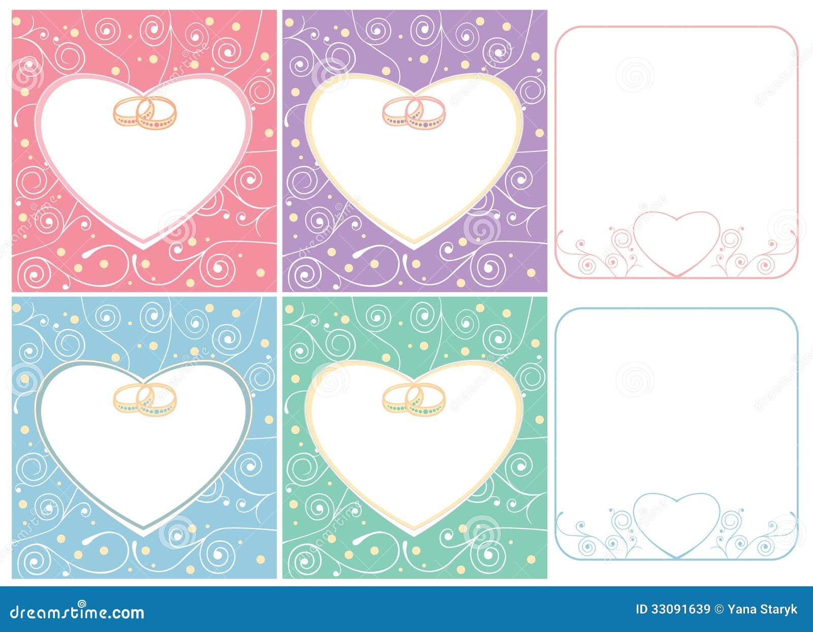 Hochzeitskarten Und Rahmen Mit Ringen Vektor Abbildung