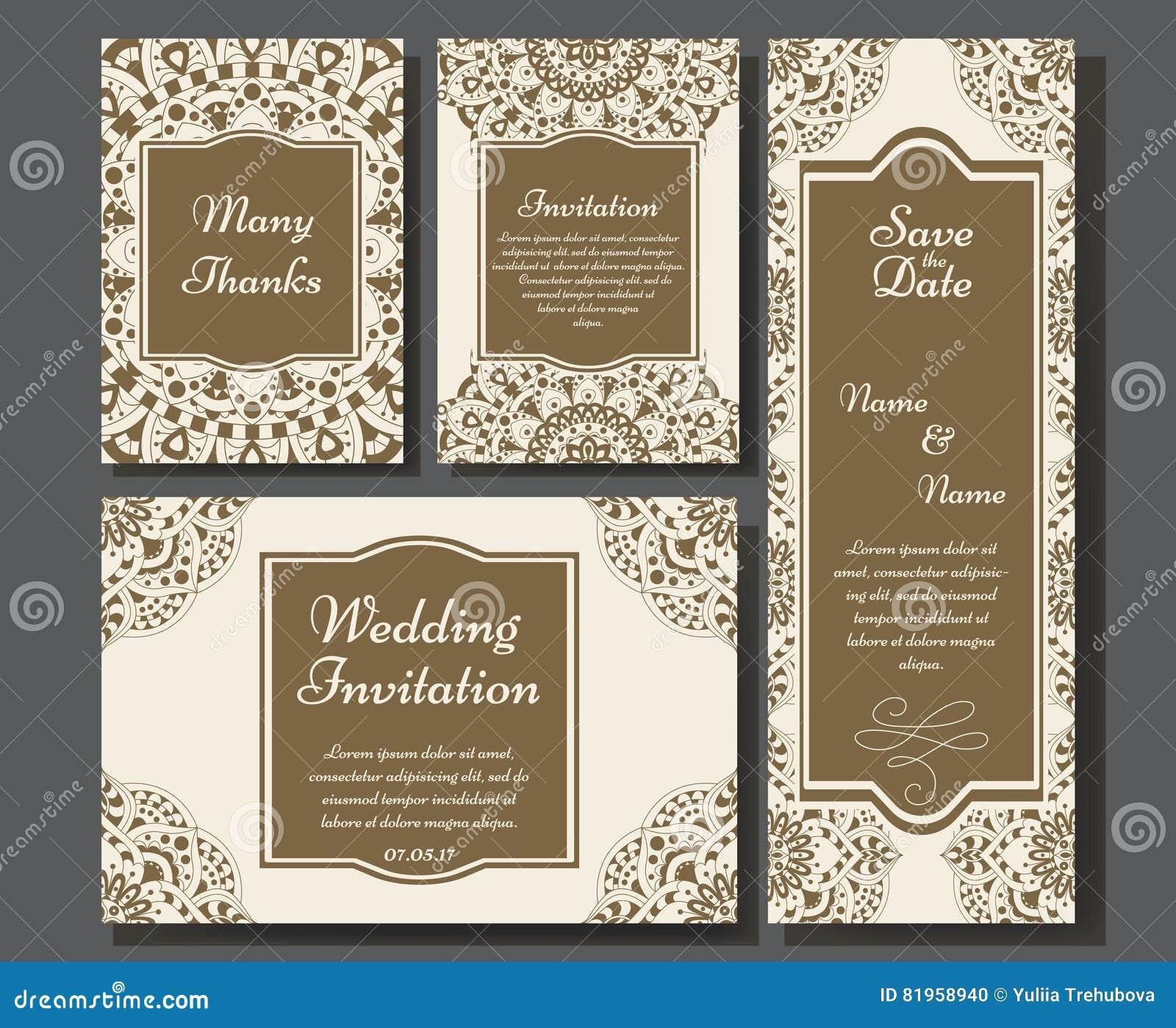 Hochzeitskartensammlung Mit Mandala Schablone Der Einladungskarte