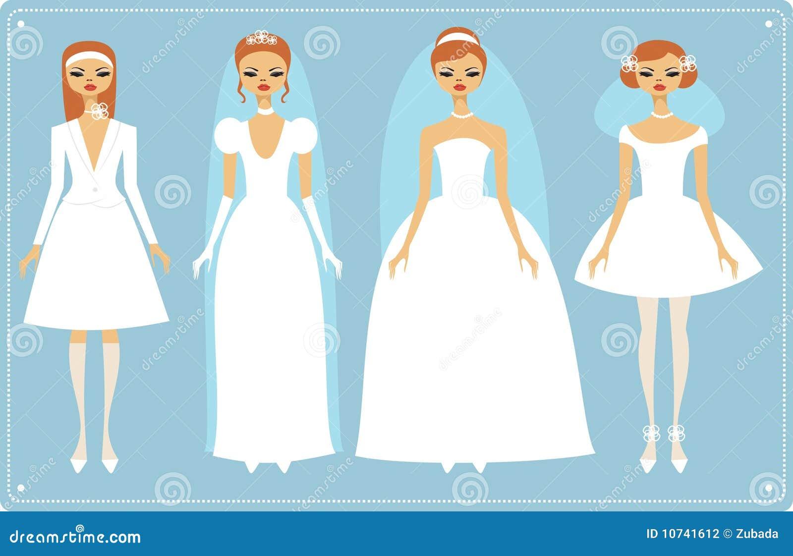 Hochzeitskleider vektor abbildung. Illustration von mädchen - 10741612