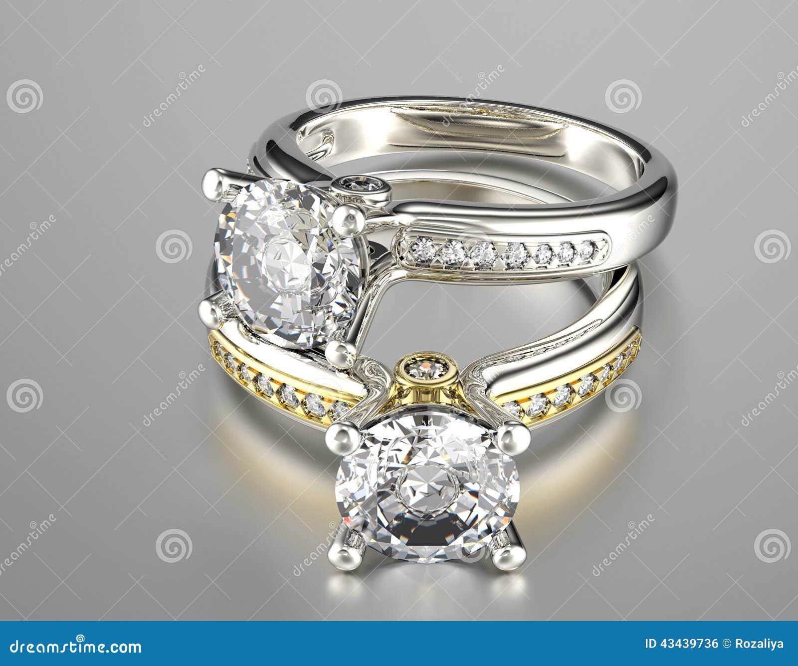 Stockfoto: Hochzeitsring mit Diamanten Gold-und Silber-schwarzer ...