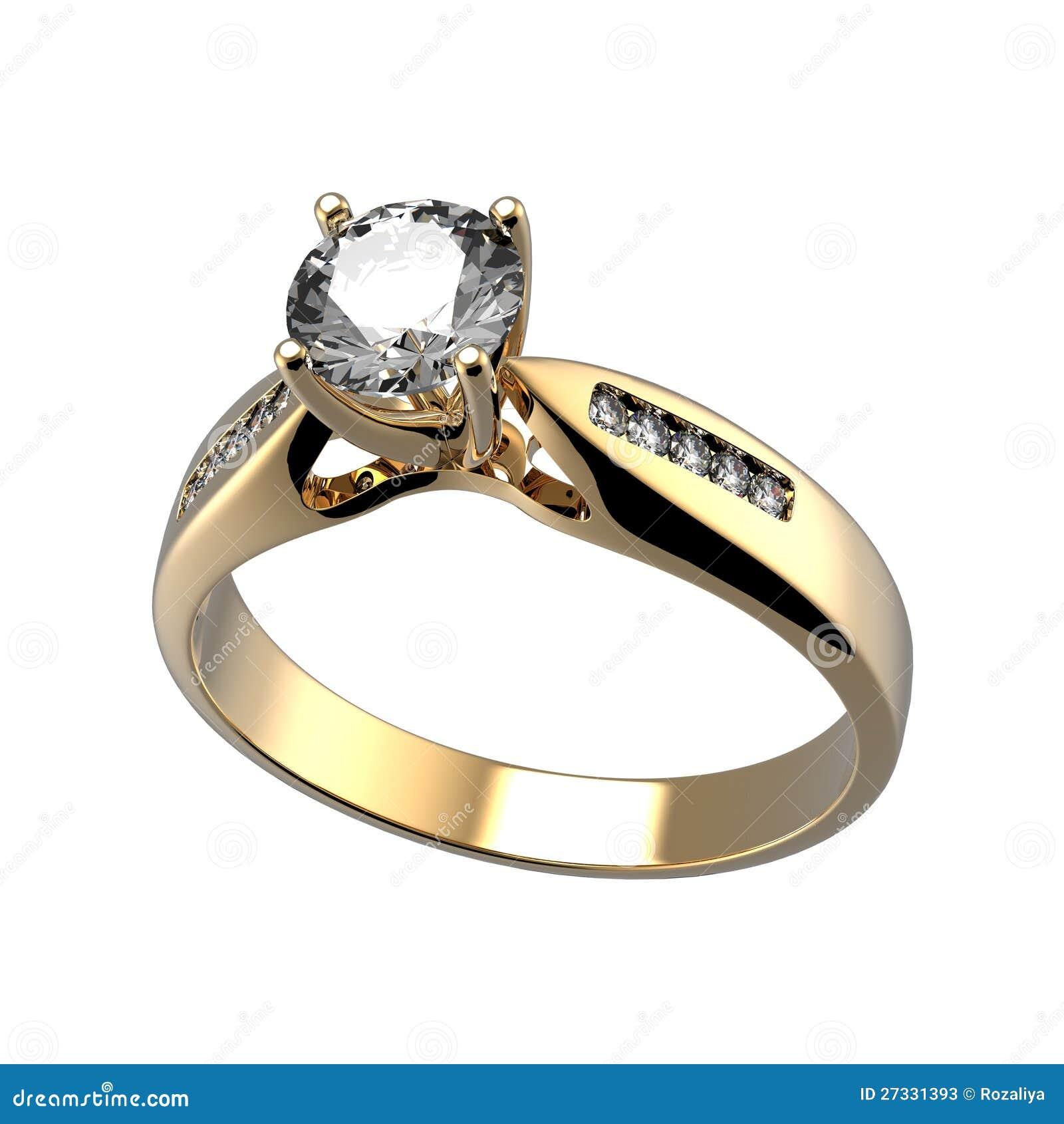 Hochzeitsring mit Diamanten auf weißem Hintergrund. Zeichen der Liebe ...
