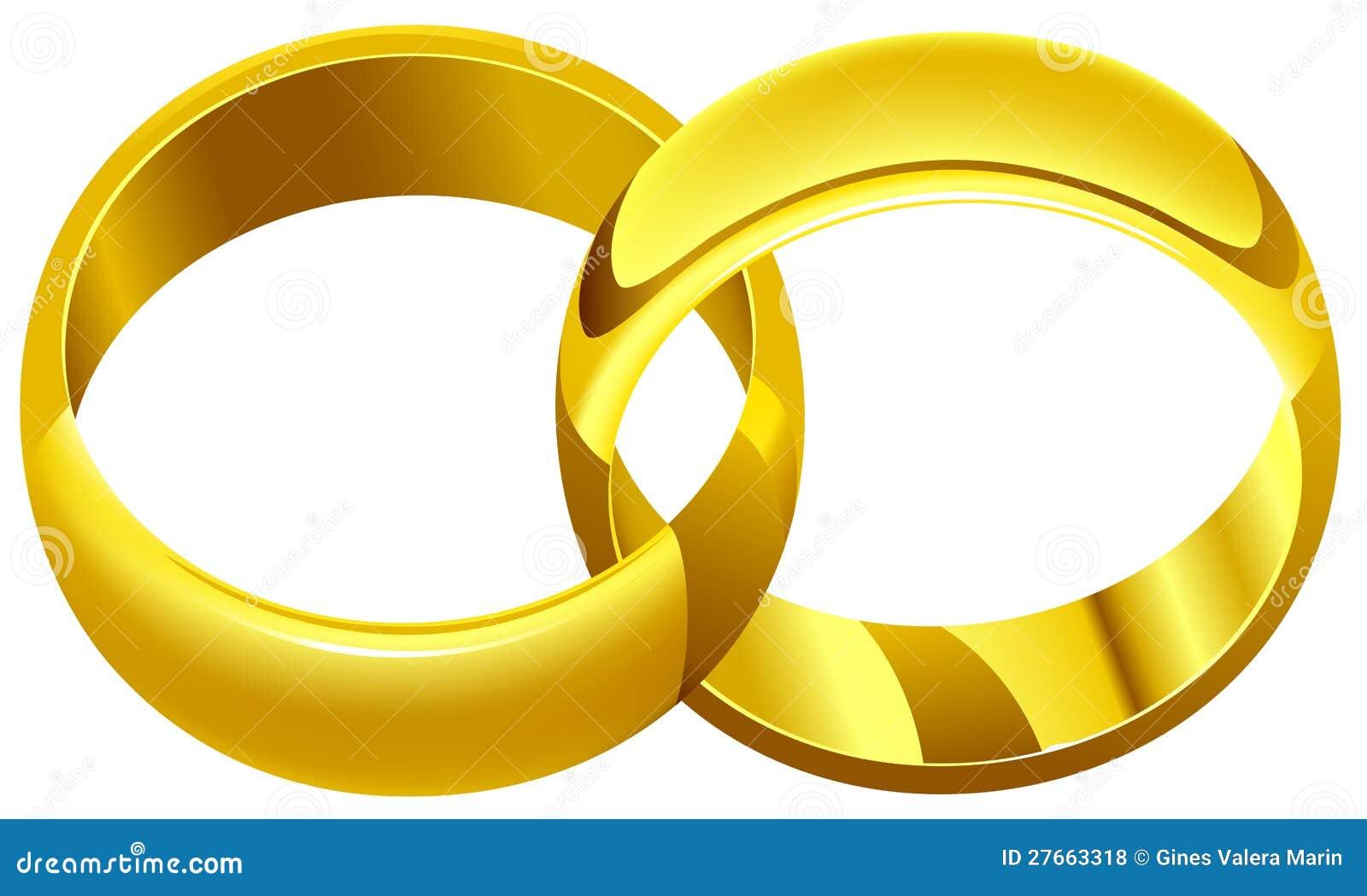 Vektorillustration von zwei Eheringen. Einfache Änderungen in der ...